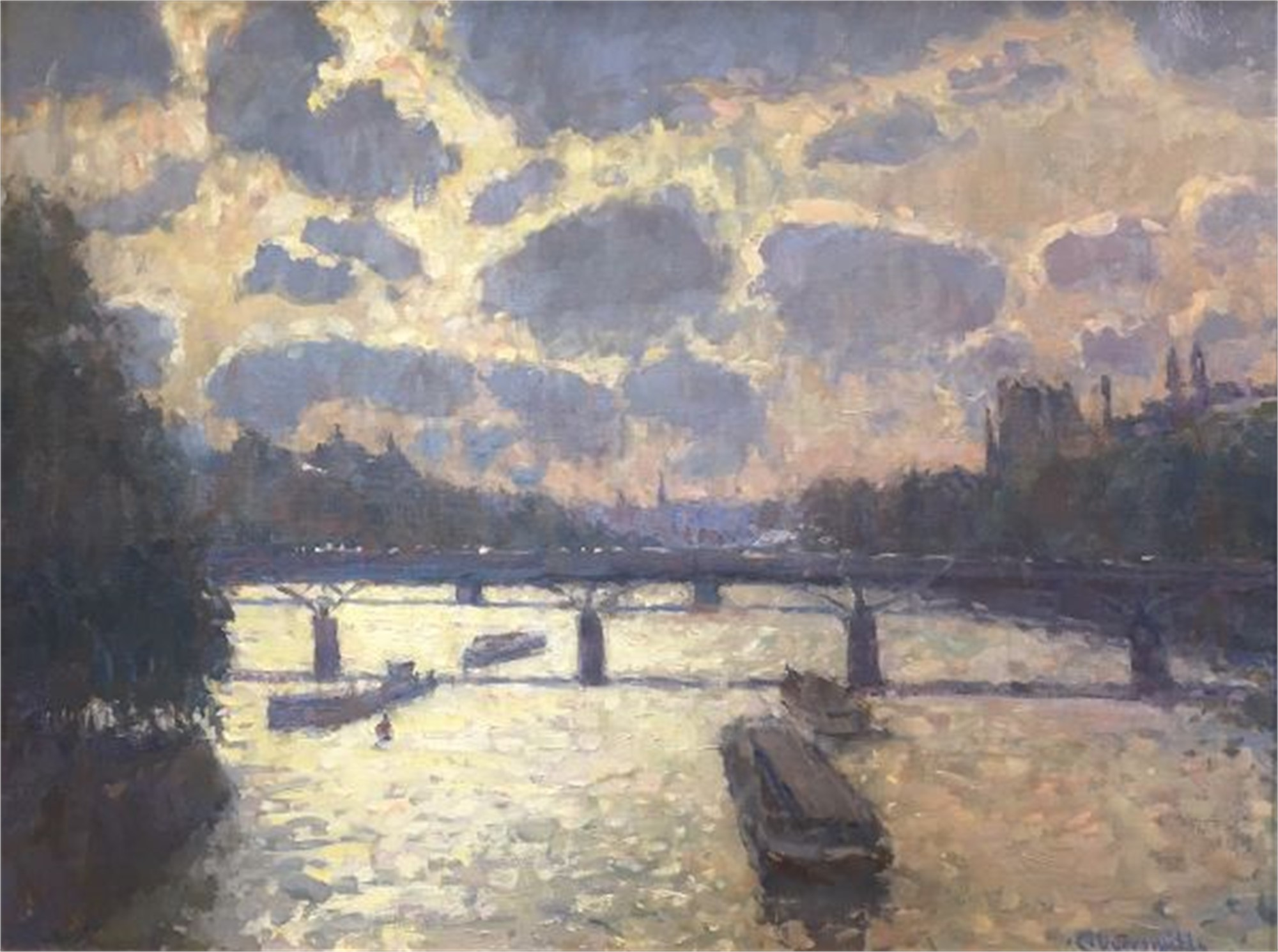 Afternoon Shimmer on the Seine by Richard Oversmith