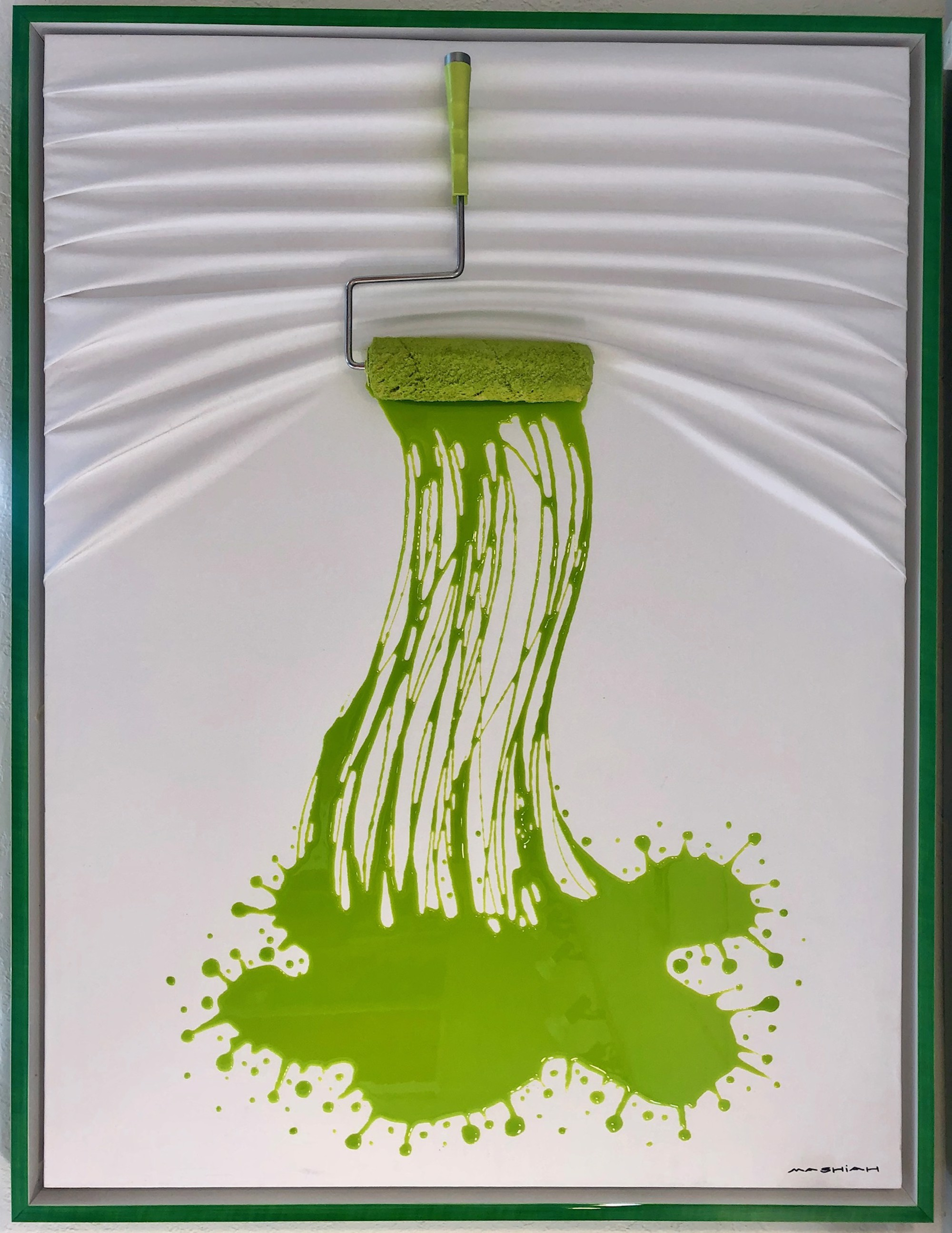 """Let's Paint"" Roller, Green splash on White by Efi Mashiah"