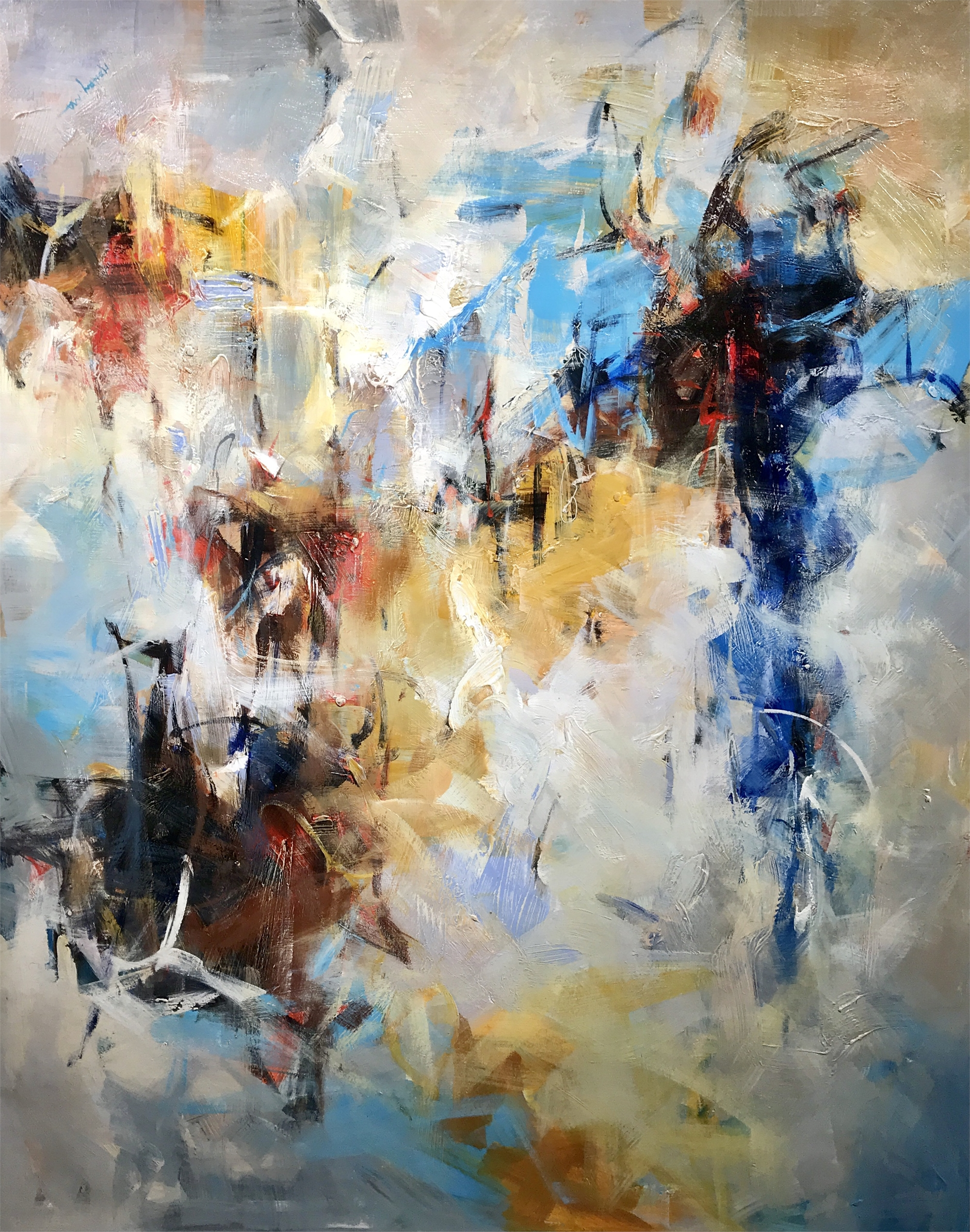 ABSTRACT BLUES BUTTERSCOTCH CENTER by Henry Ma