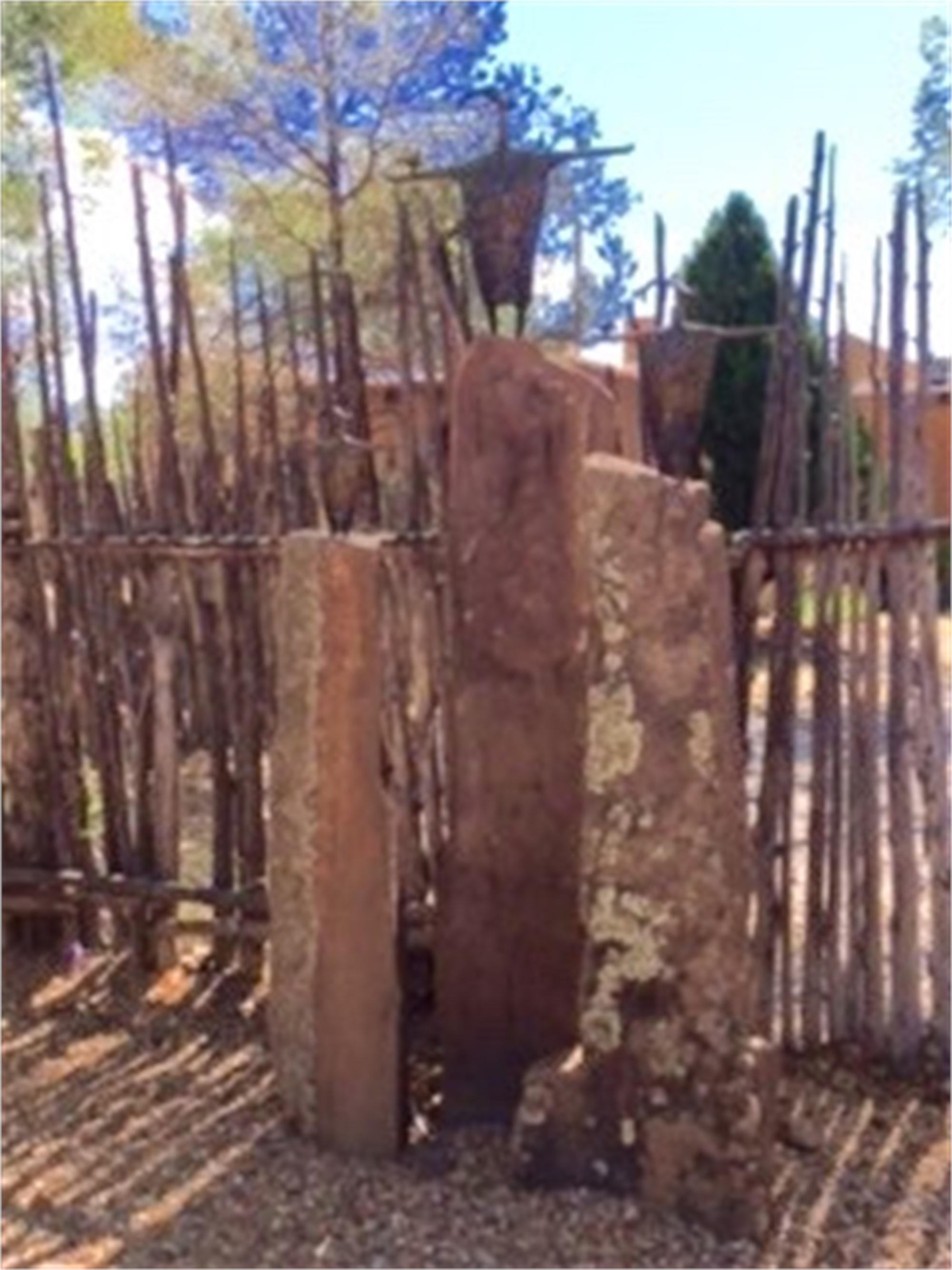 """LESSONS OF THE BALANCE ON ROCK - Large Outdoor Sculpture 23""""  Rock 69"""" (+ 14"""" underground) by Jill Shwaiko"""