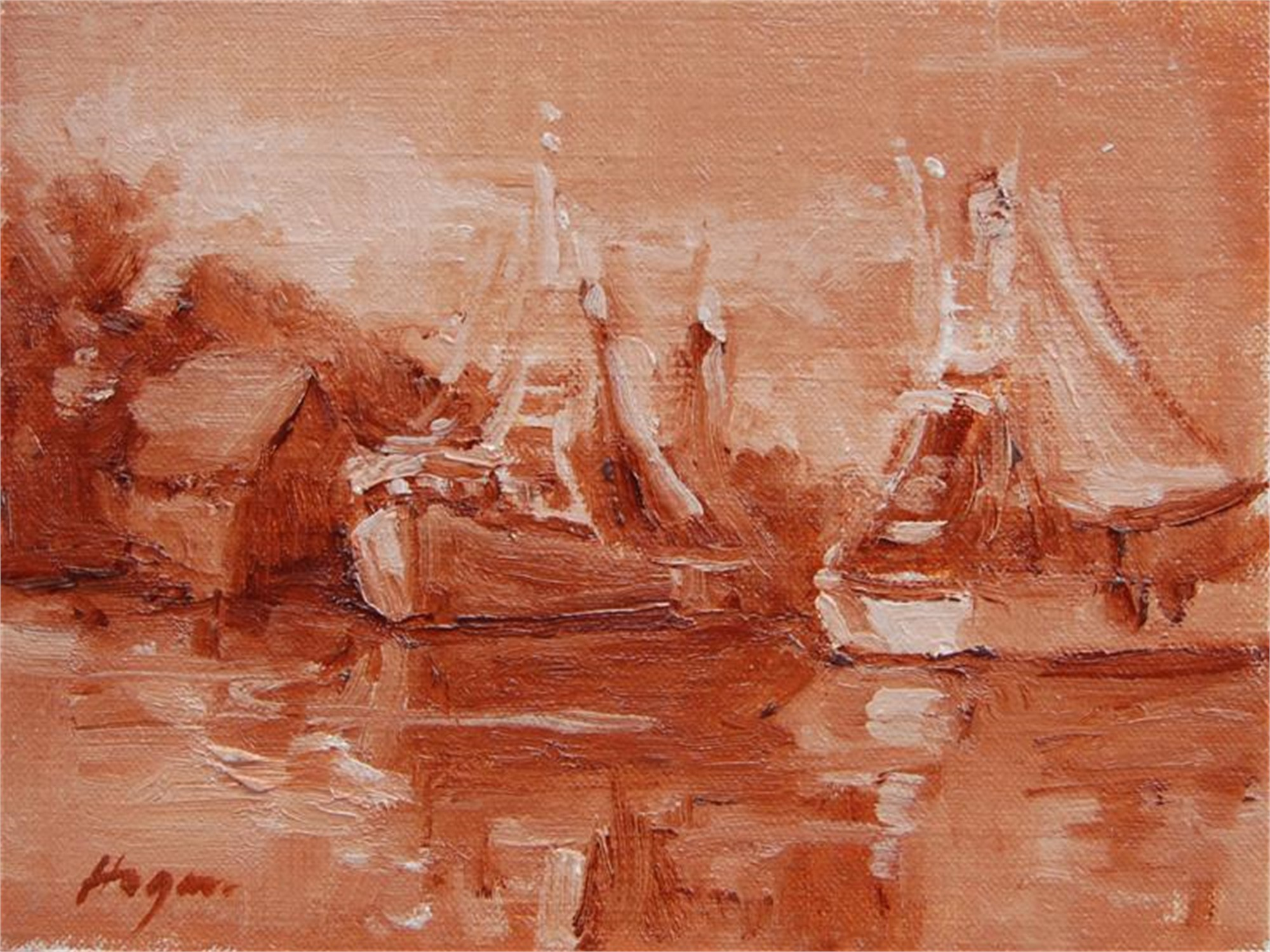 Shem Creek in Sienna by Karen Hewitt Hagan