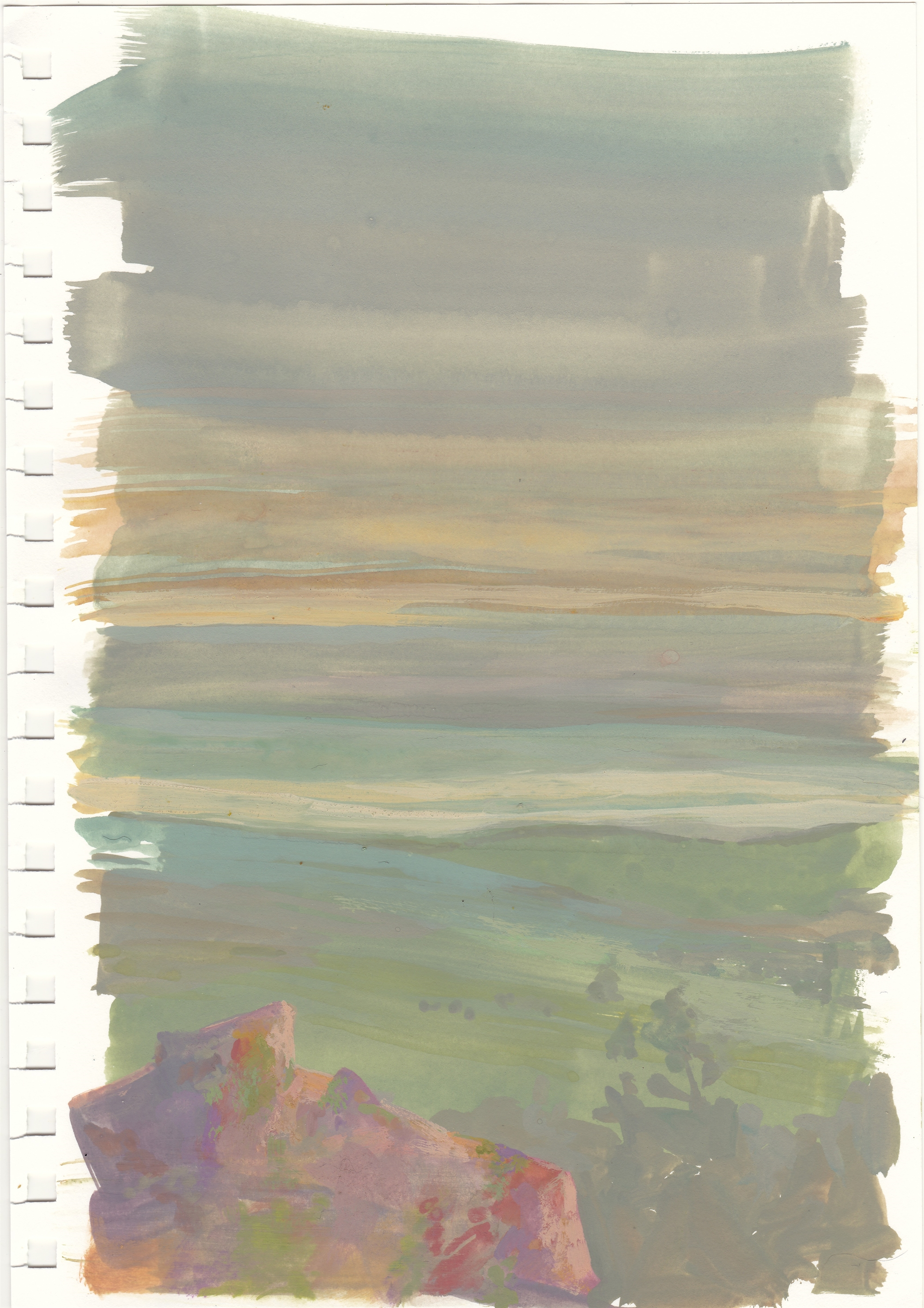 Study: Pink Boulder In The Foggy Evening by Charis Carmichael Braun