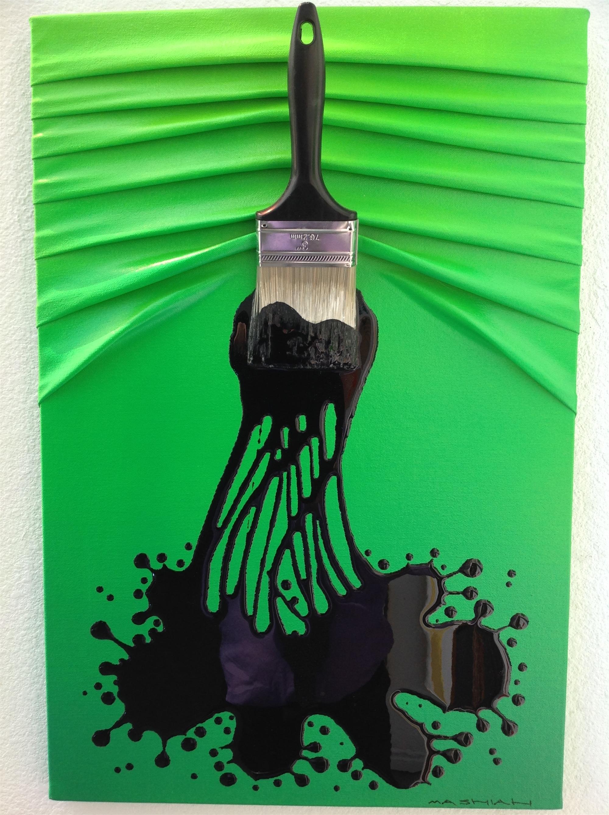 """Lets Paint"" Small Black on Dk. Green/lt.green Ombre by Efi Mashiah"