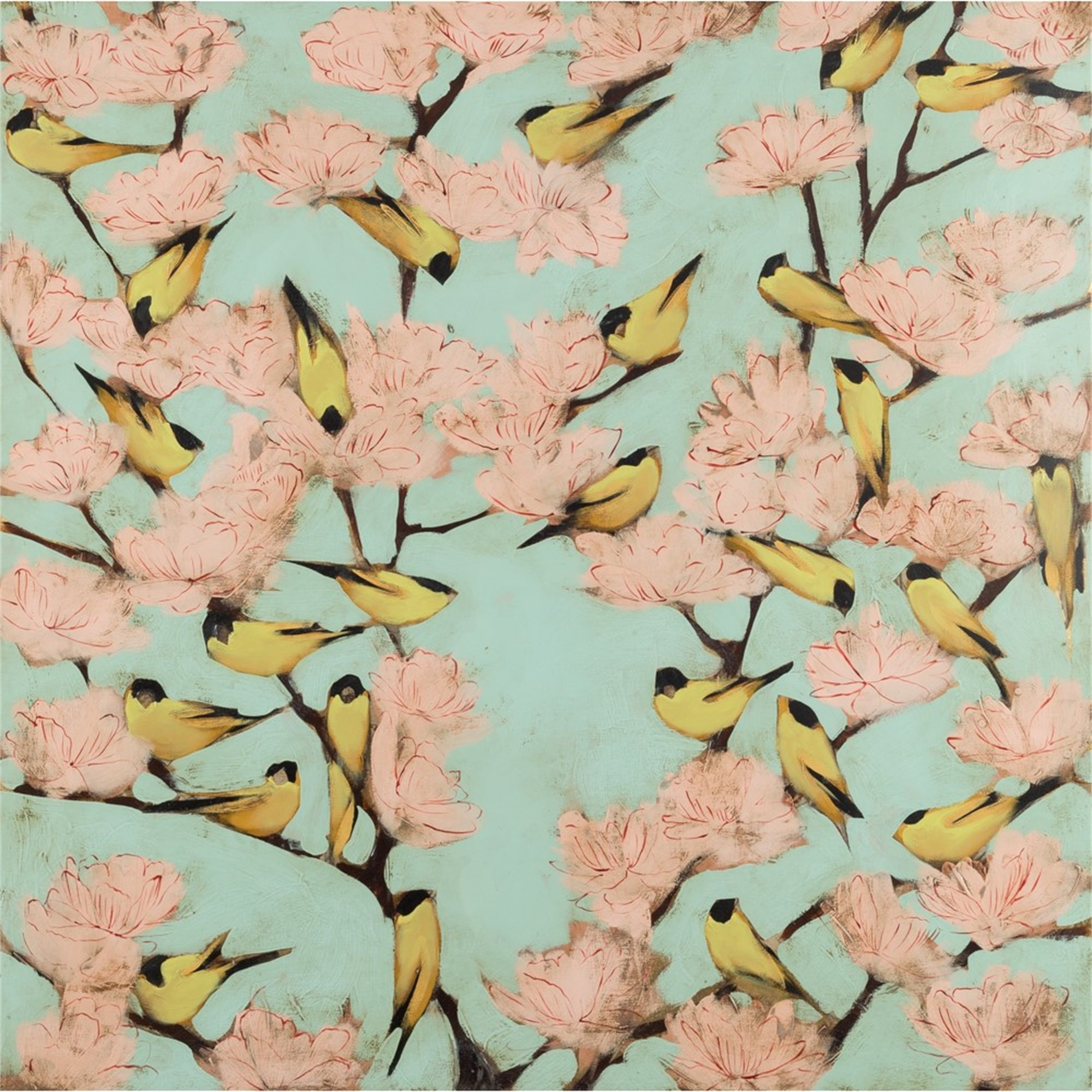 Blossoms and Finches by Joseph Bradley