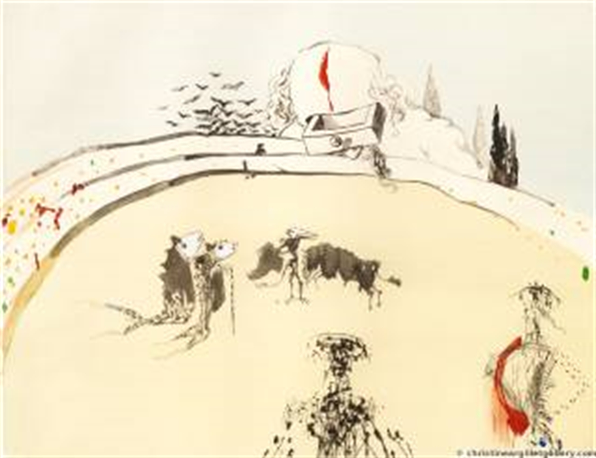 """Surrealist Bullfight """"Bullfight with drawer"""" by Salvador Dali"""