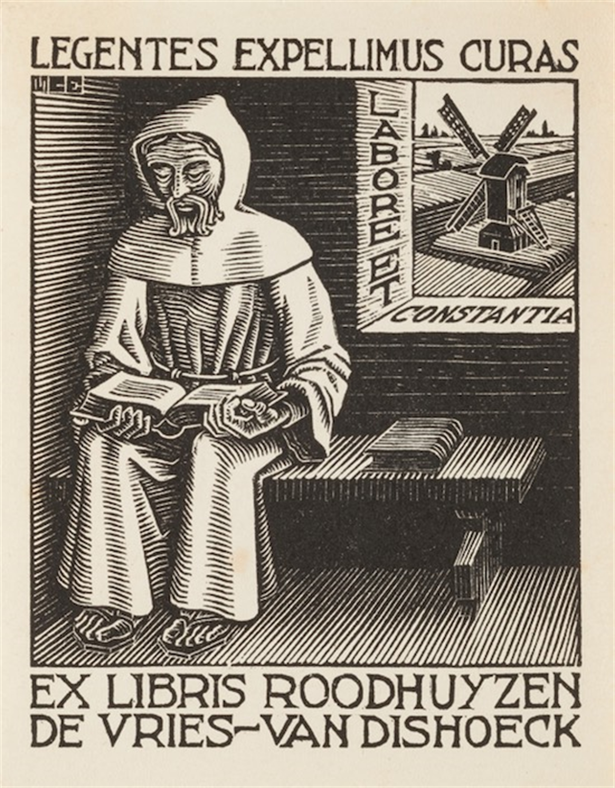 (Monk) Bookplate by M.C. Escher