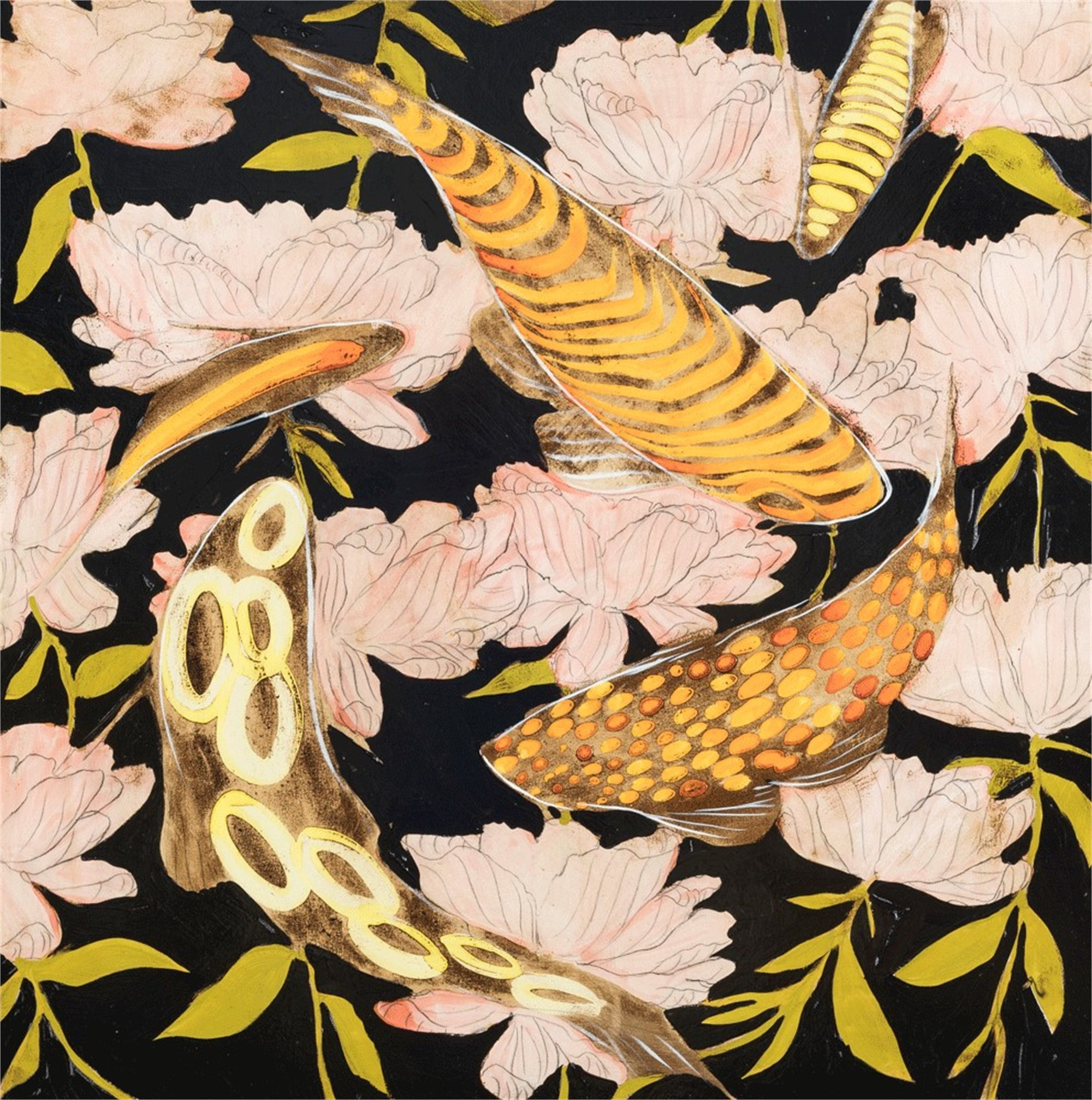 A Midnight Koi and Peonies by Joseph Bradley