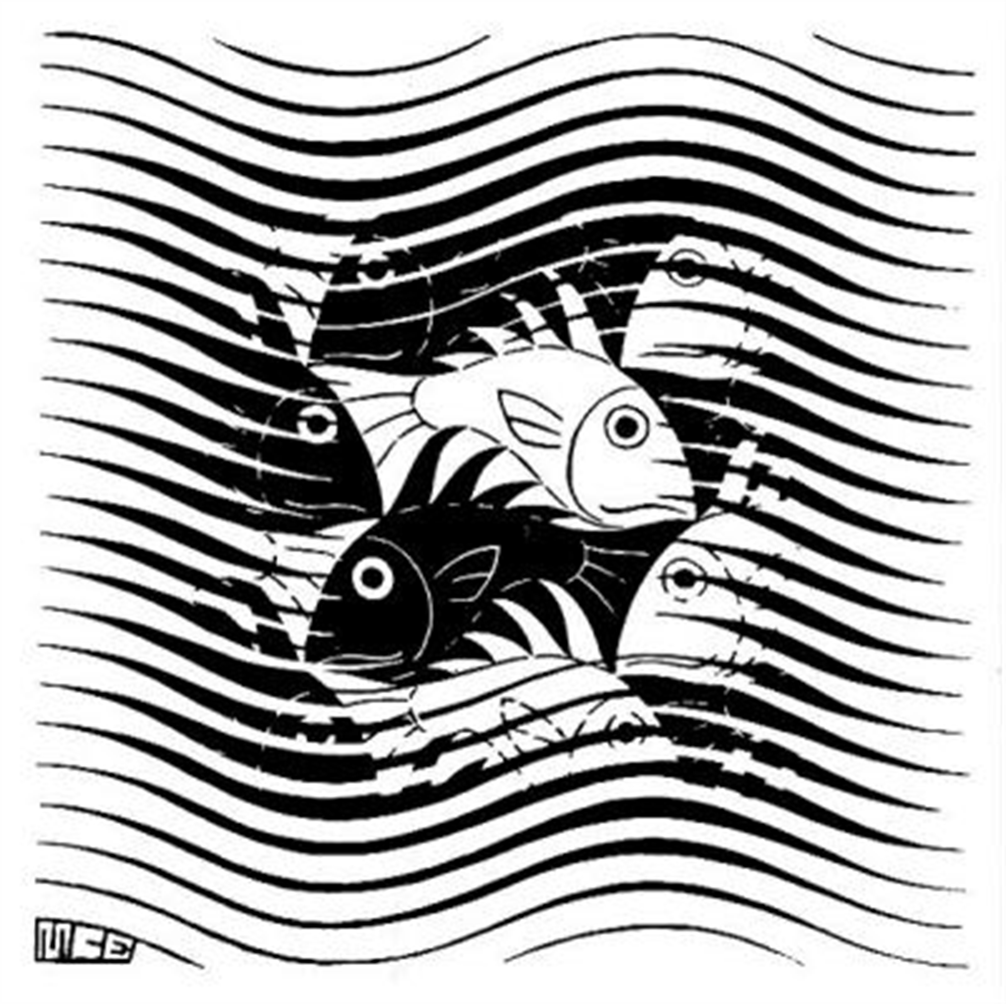 Fish and Waves by M.C. Escher
