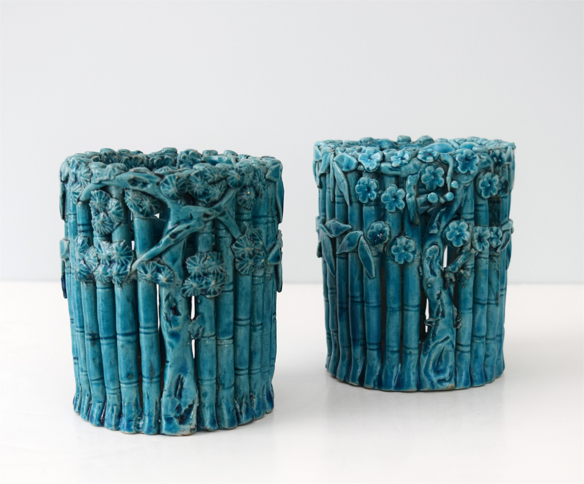 PAIR OF CHINESE TURQUOISE GLAZED BAMBOO BRUSHPOTS
