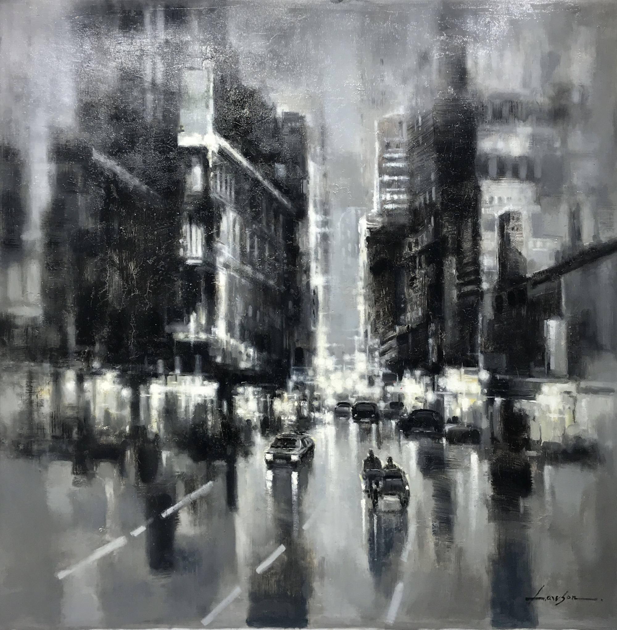 DARK CITYSCAPE WITH SIDECAR by LAWSON