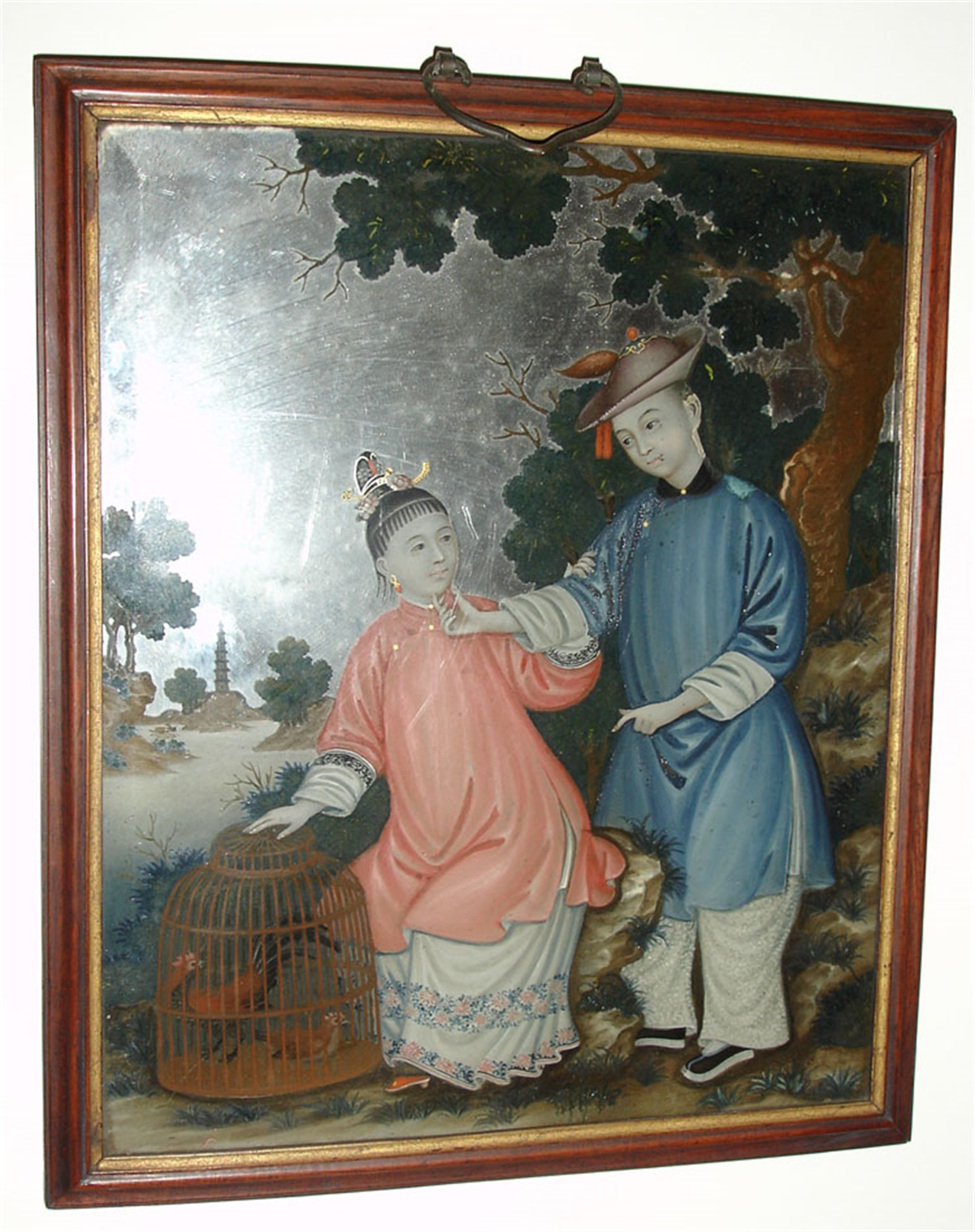 CHINESE REVERSE PAINTING ON GLASS WITH A COUPLE AND COCKERELS IN CAGE