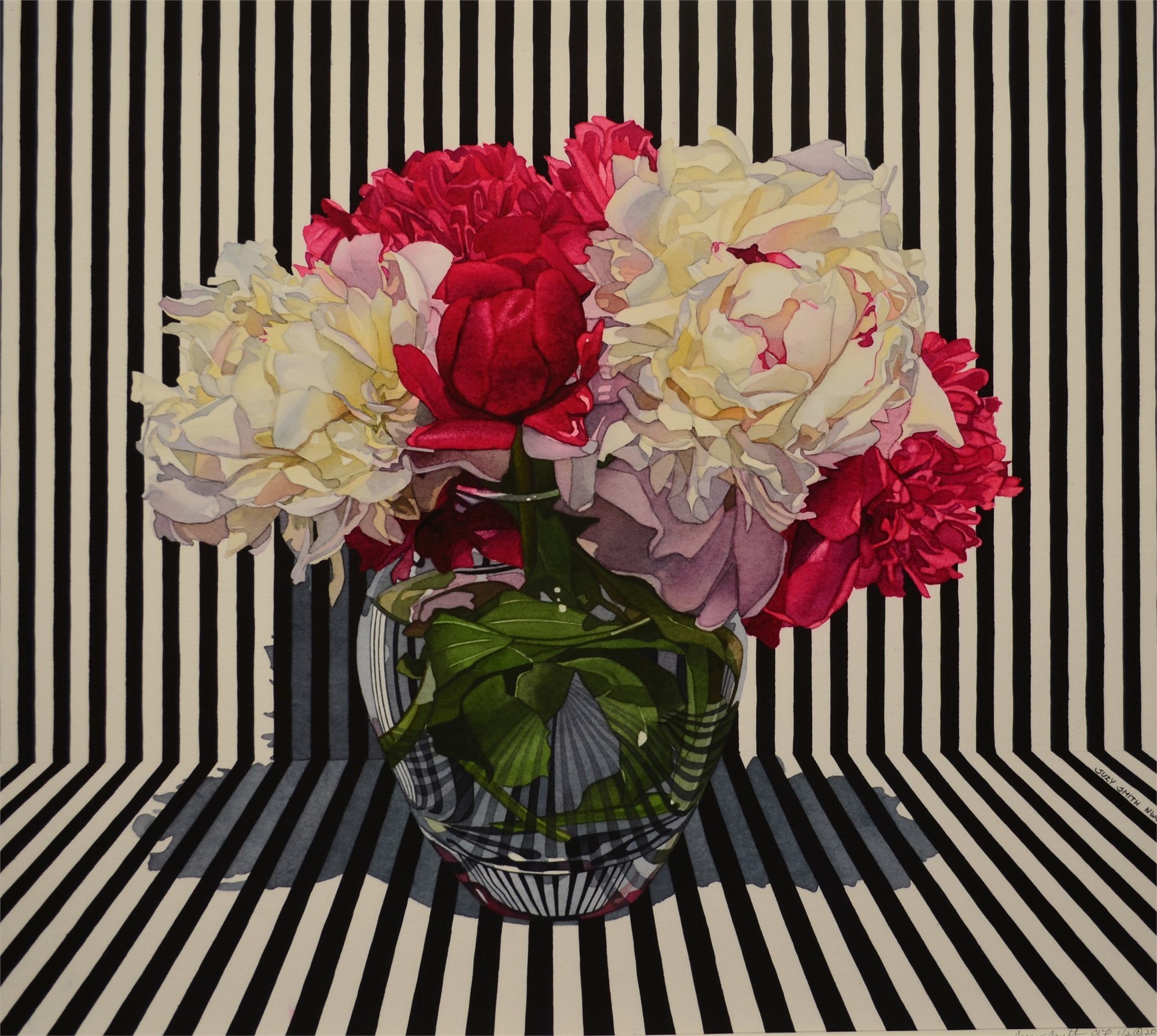 Peonies with Stripes by Suzy Smith