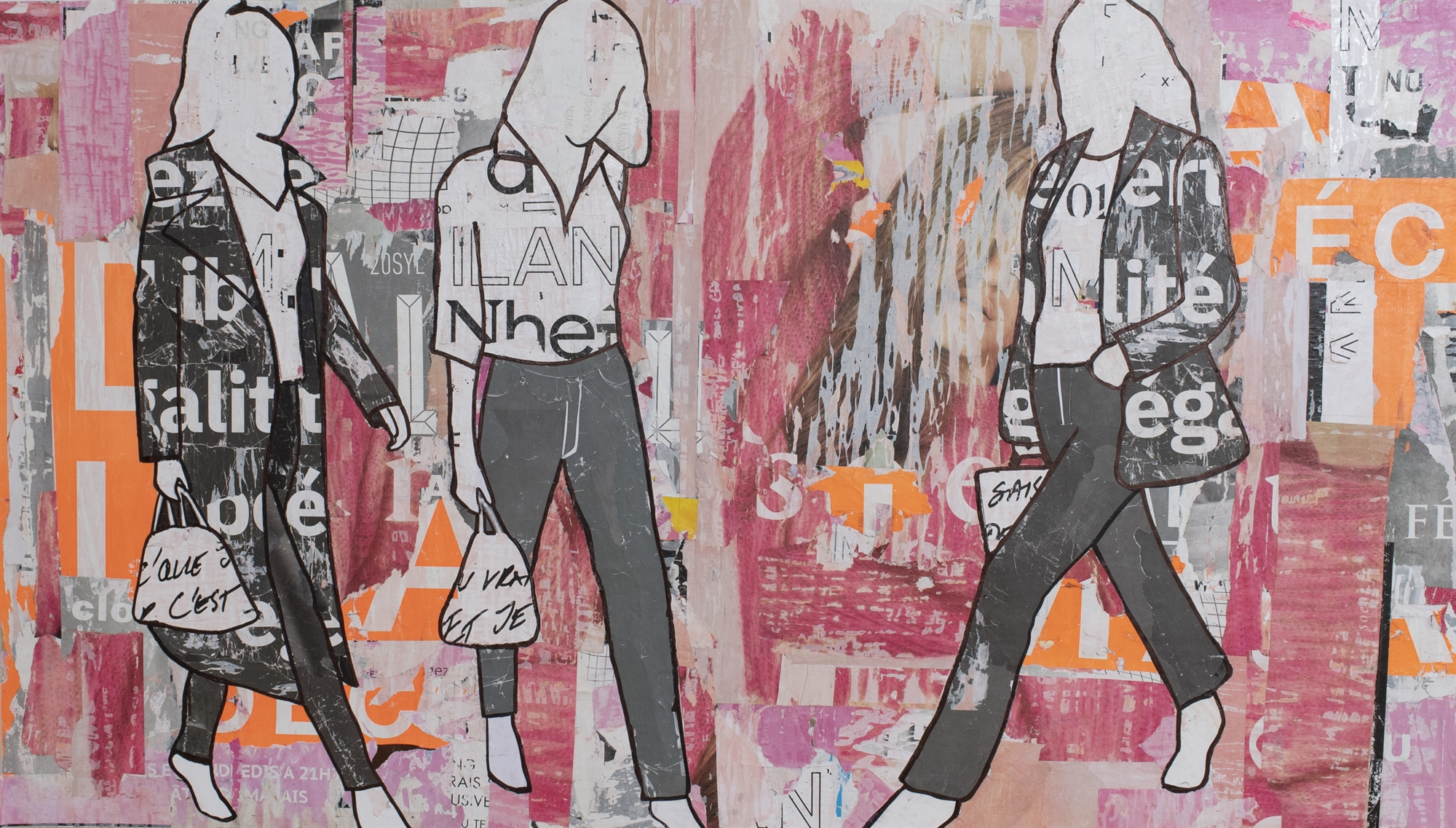 Pink + Grey Walking Girls by Jane Maxwell