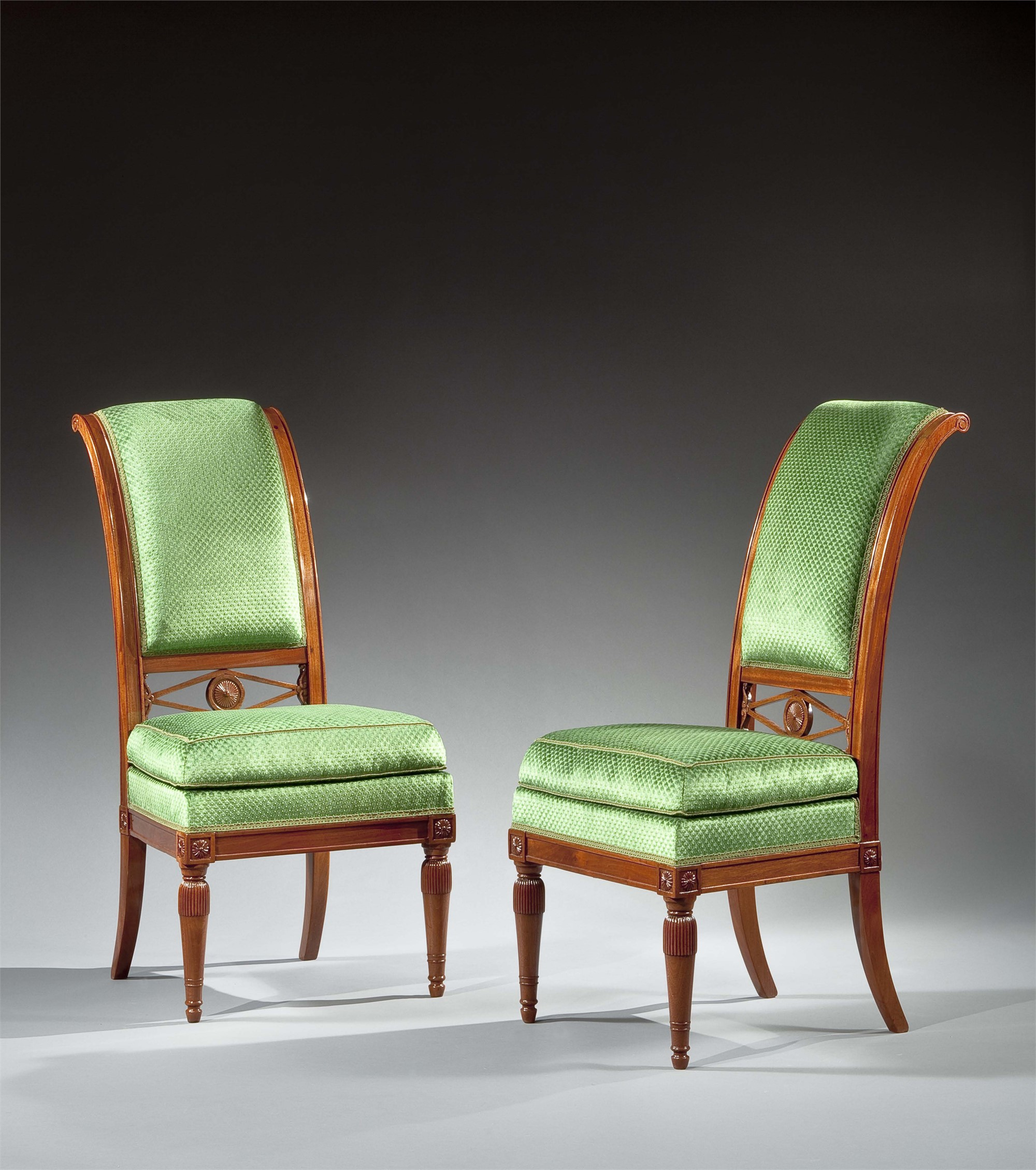 PAIR OF LOUIS XVI CHAIRS WITH CURVED AND FLUTED BACKS