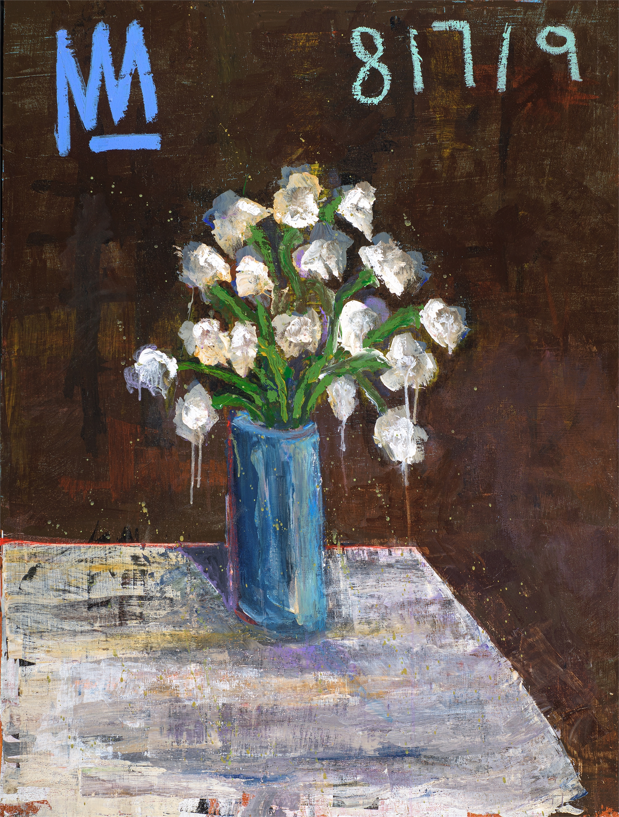Floral Still Life with Blue Vase by Michael Snodgrass