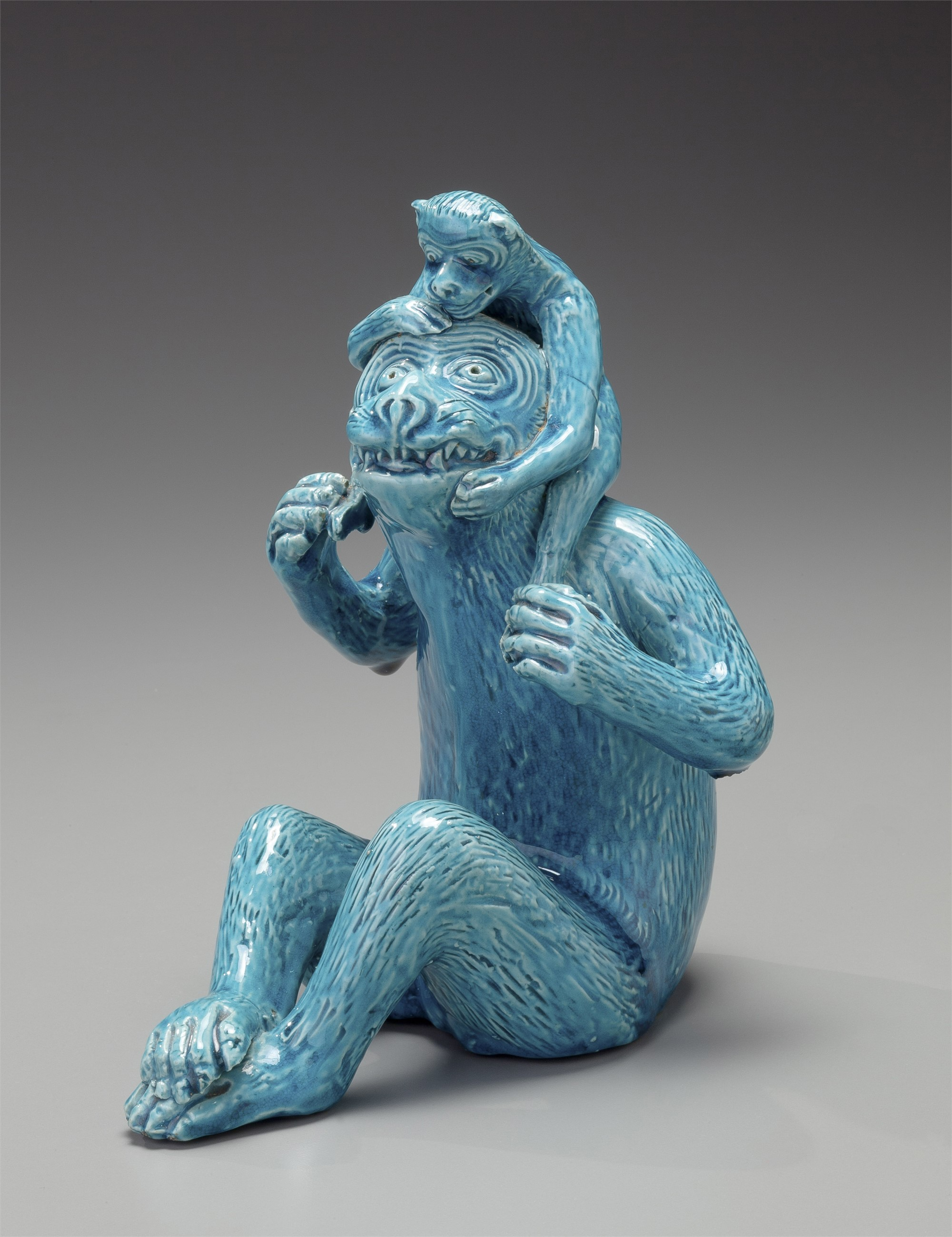 TURQUOISE MONKEY WITH YOUNG