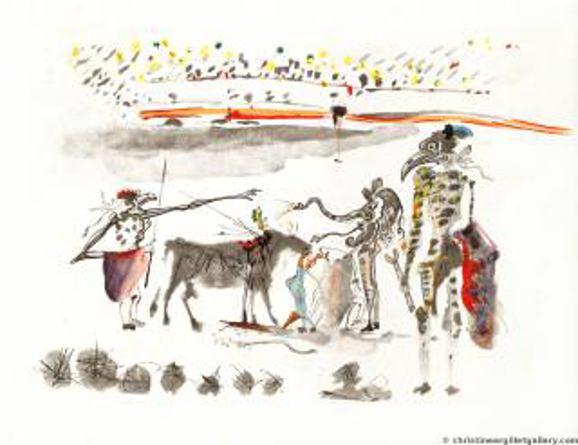 "Surrealist Bullfight ""Bullfight with Parrots"" by Salvador Dali"
