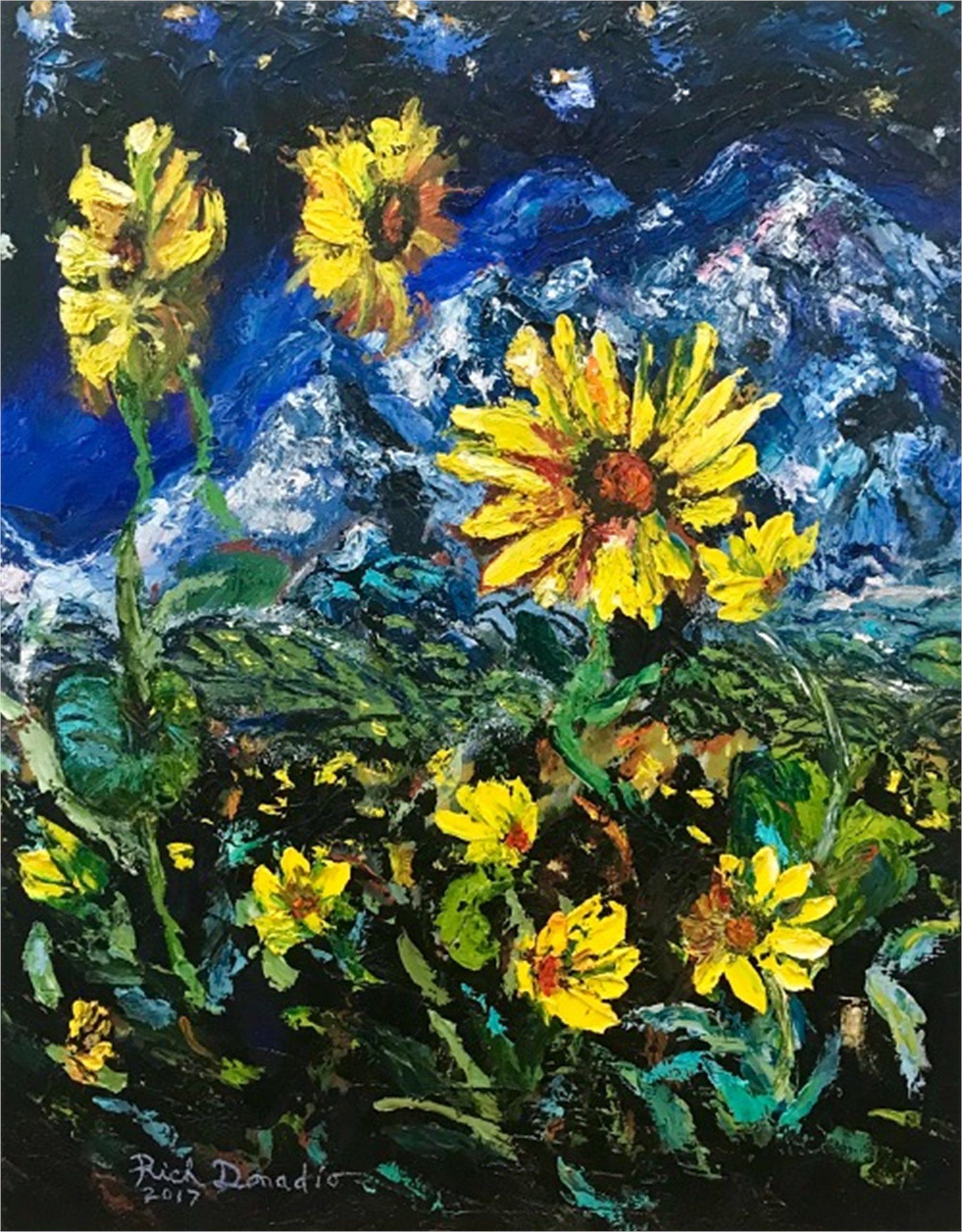Sunflowers Over Mountain by Richard Donadio