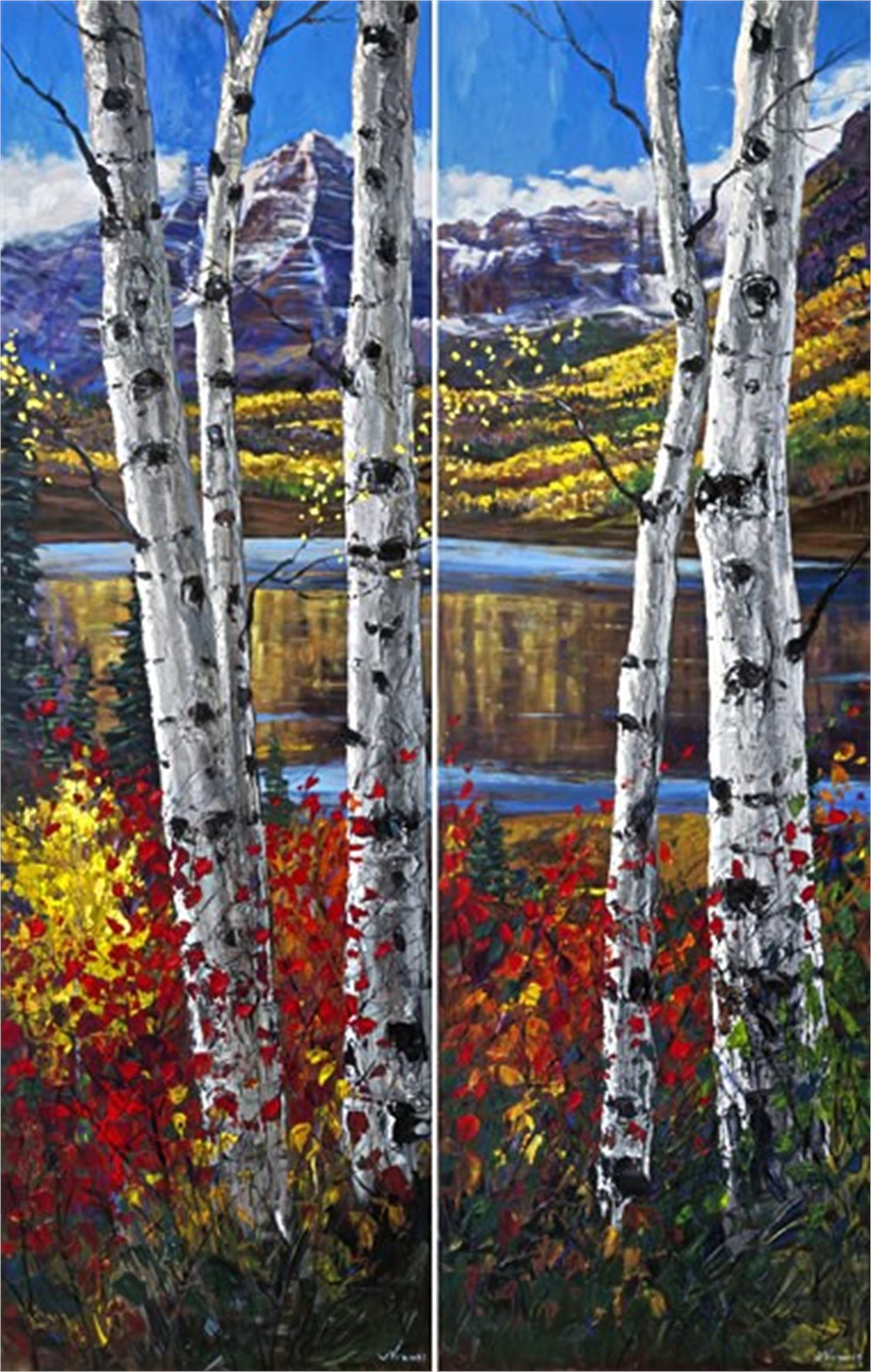 Autumn on Bells (diptych) by Jennifer Vranes