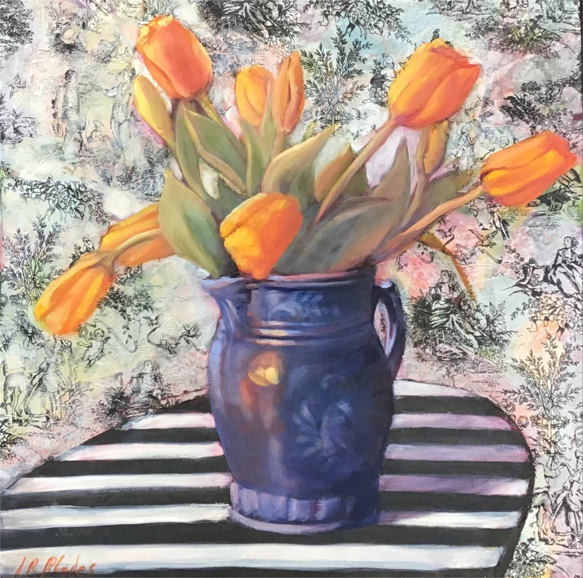 Torn Fabric Tulips by Ann B. Rhodes