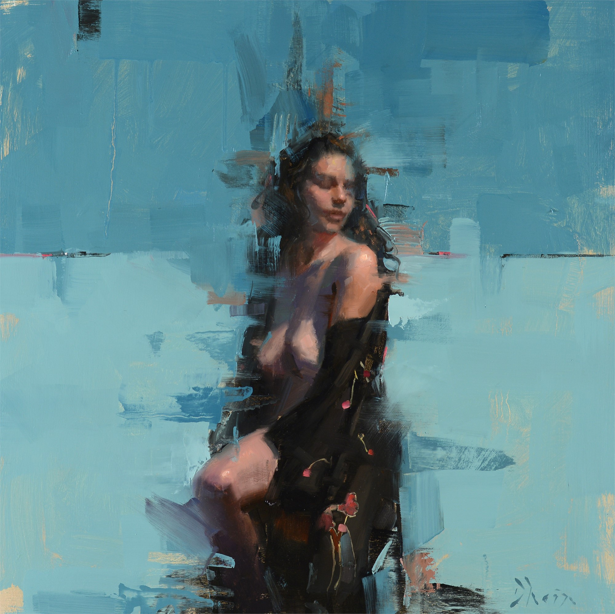 Nude in Phthalo Turquoise with Kimono by Jacob Dhein
