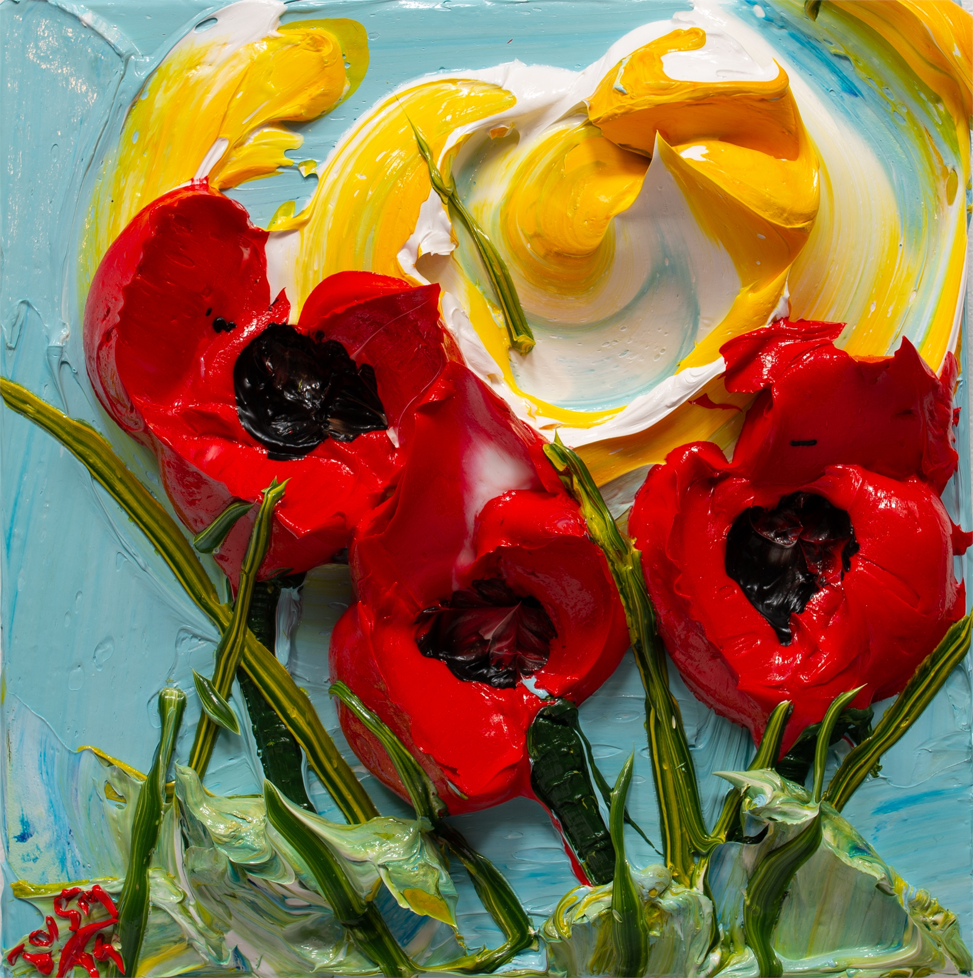 POPPY FLOWERS-PF-12X12-2019-173 by JUSTIN GAFFREY