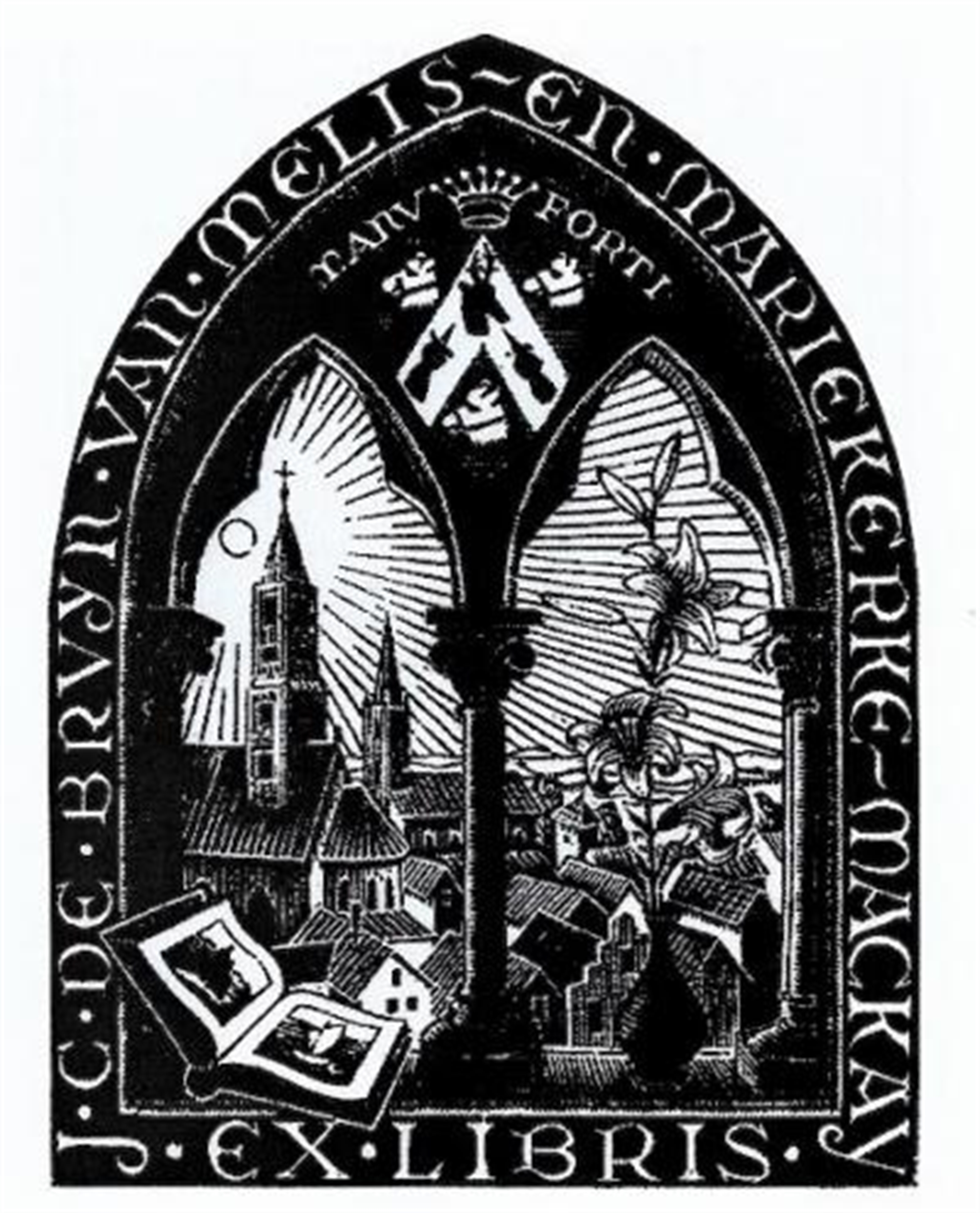 Bookplate J.C. de Bruyn van Melis by M.C. Escher
