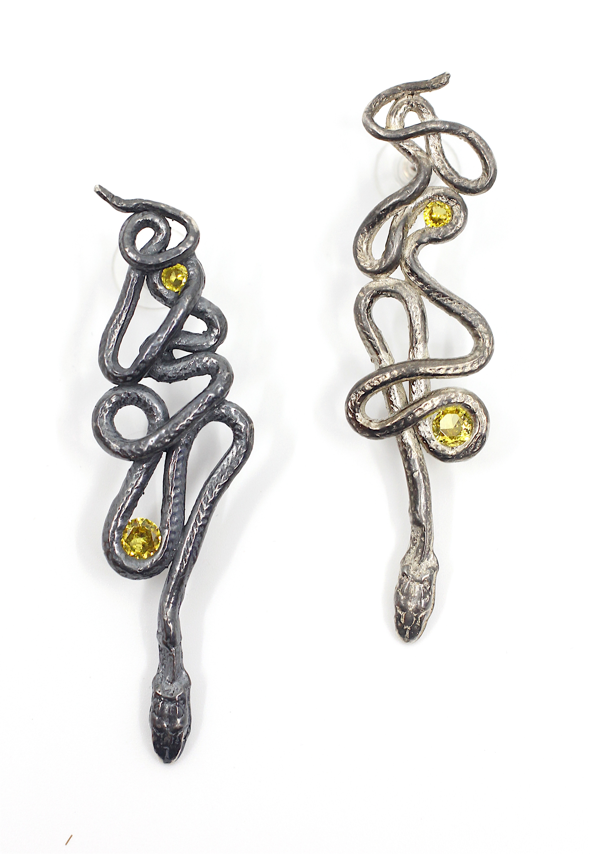 Yellow Topaz Serpentine Earrings by Anna Johnson