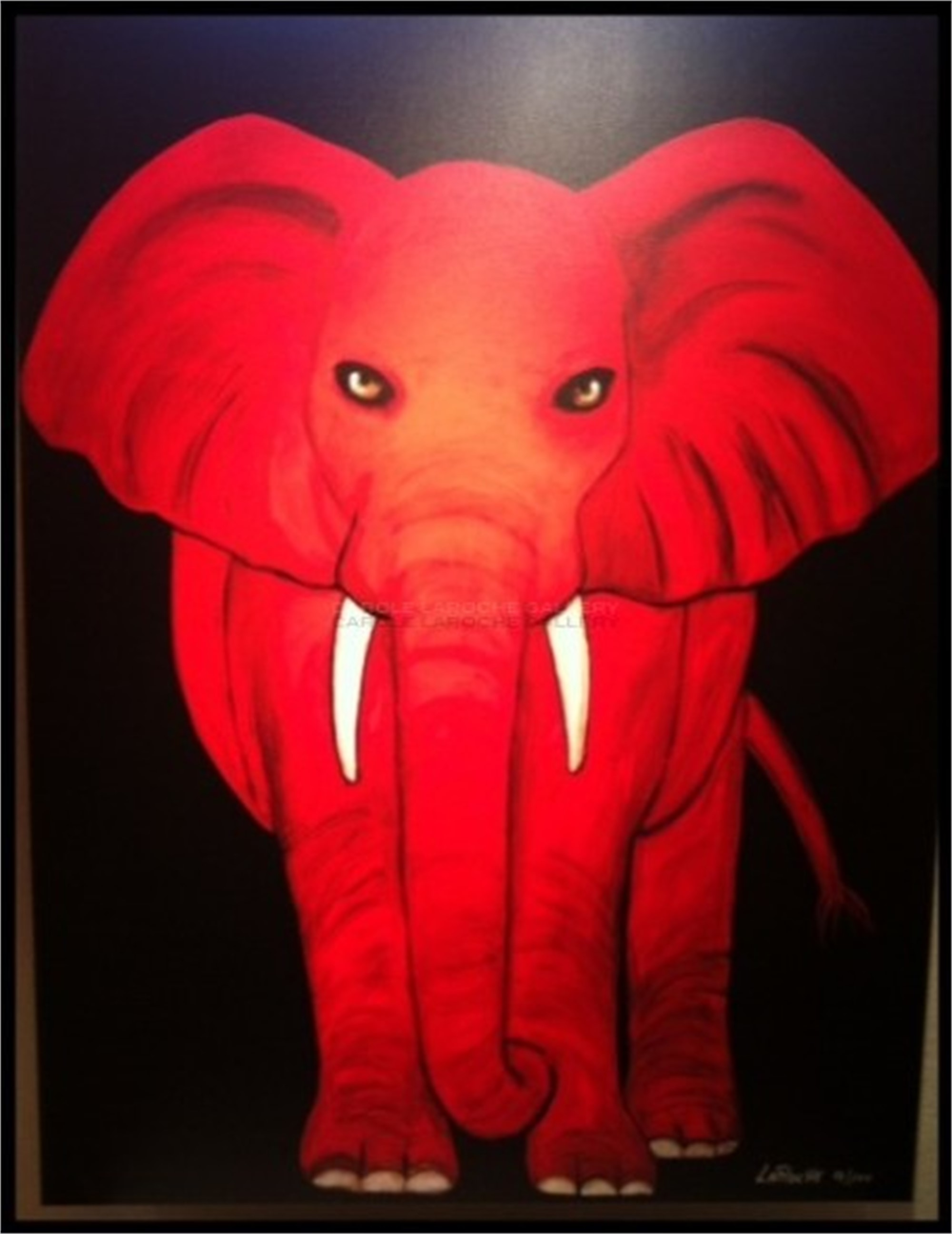 "RED ELEPHANT - limited edition giclee on canvas 54""x40"" by Carole LaRoche"
