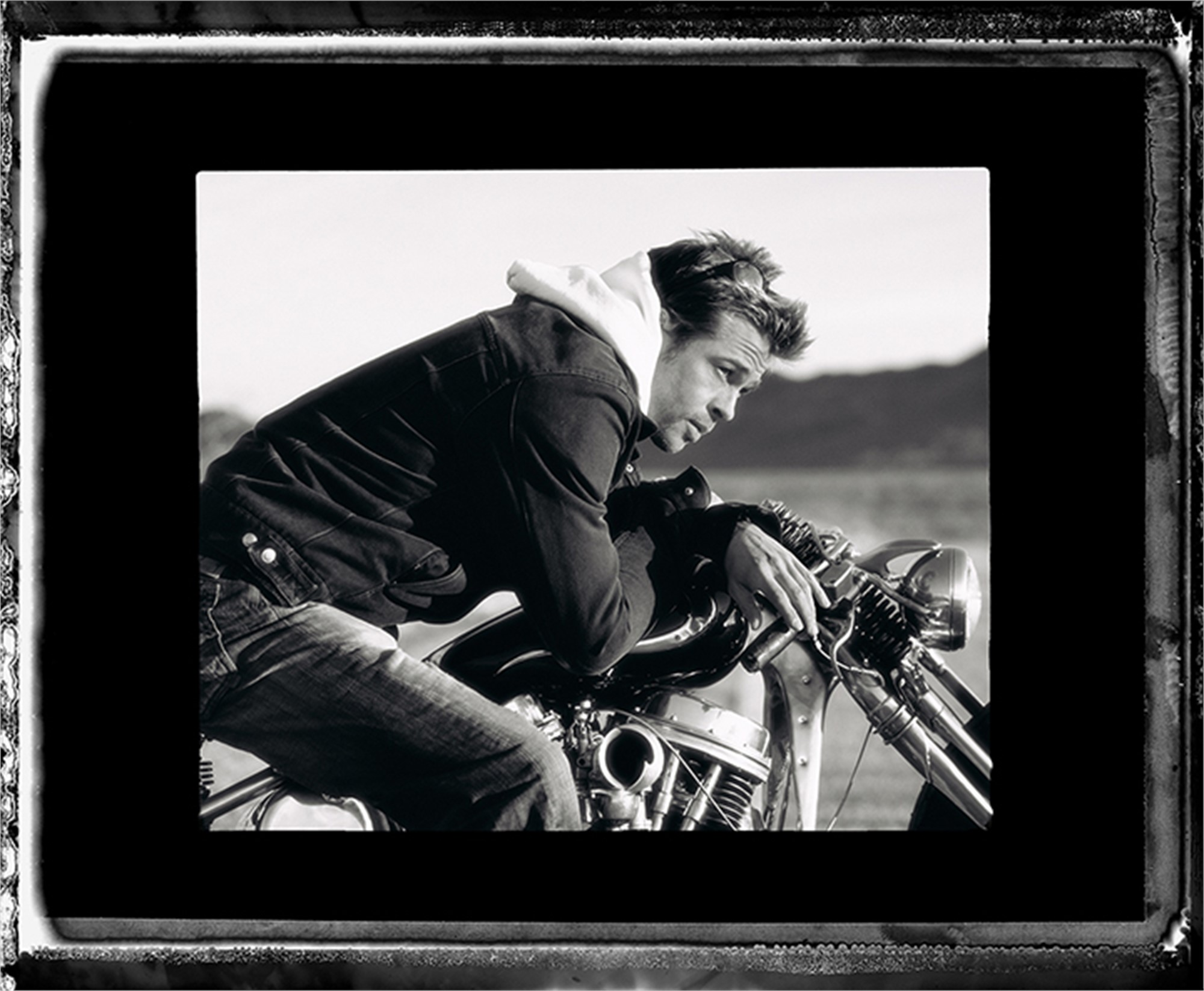 05009 Brad Pitt on Motorcycle Tilted Face BW by Timothy White