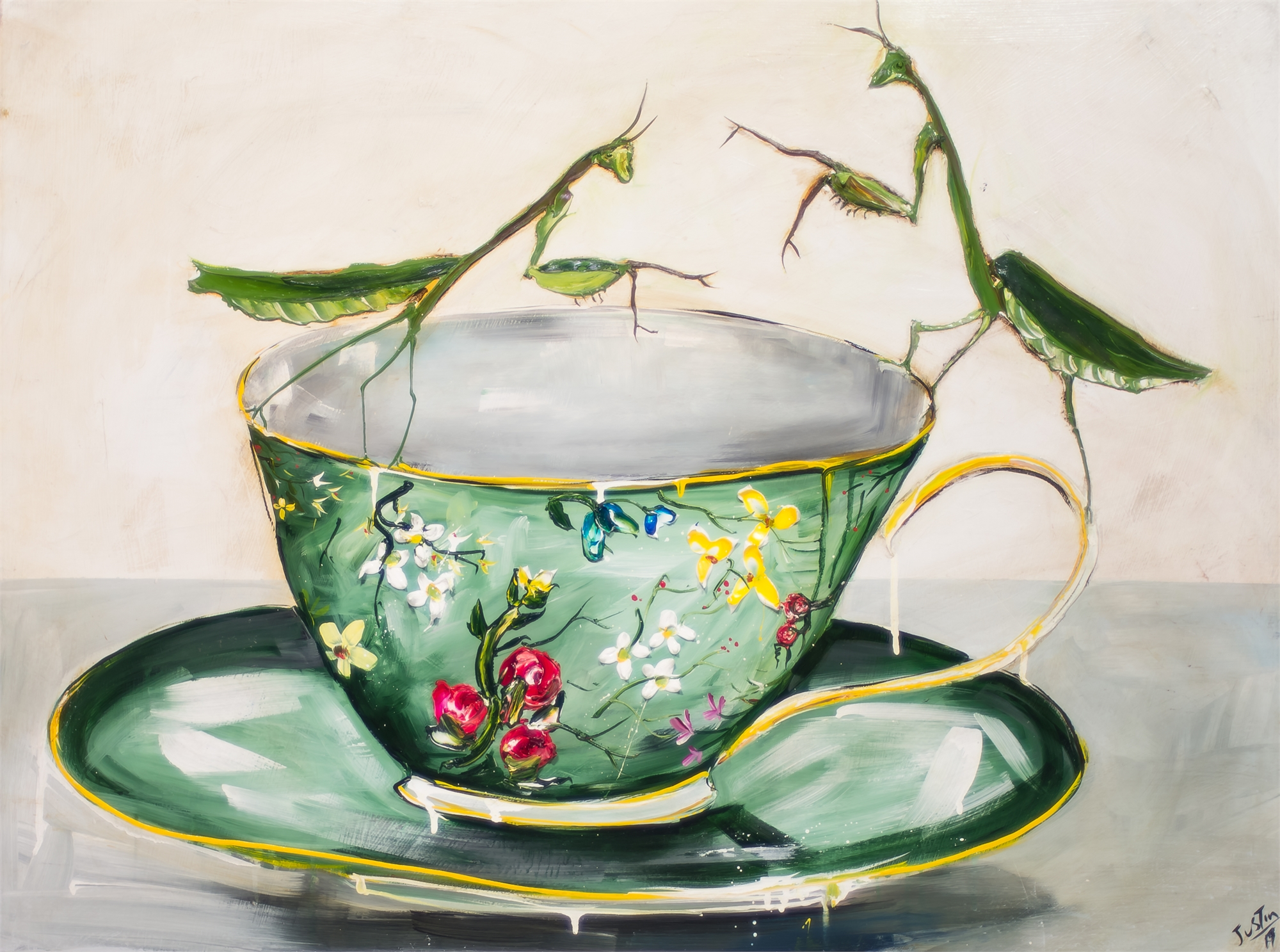 MANTIS AND CUP MAC40X30-2019-139 by Justin Gaffrey