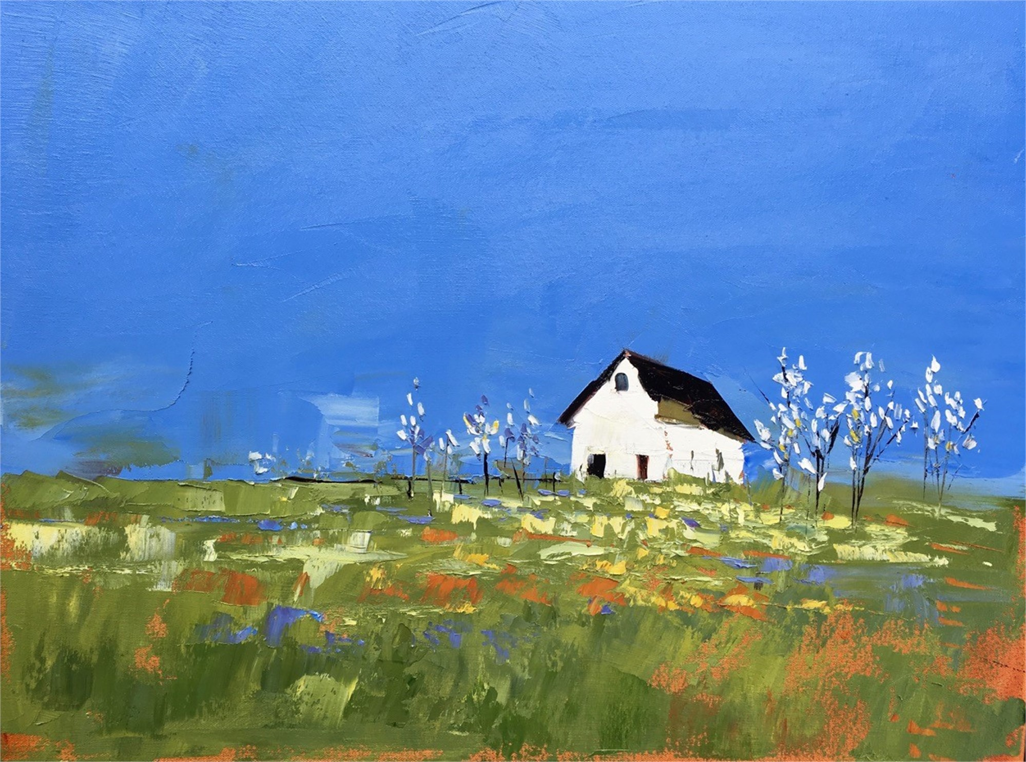 White Barn in Summer by Sandra Pratt