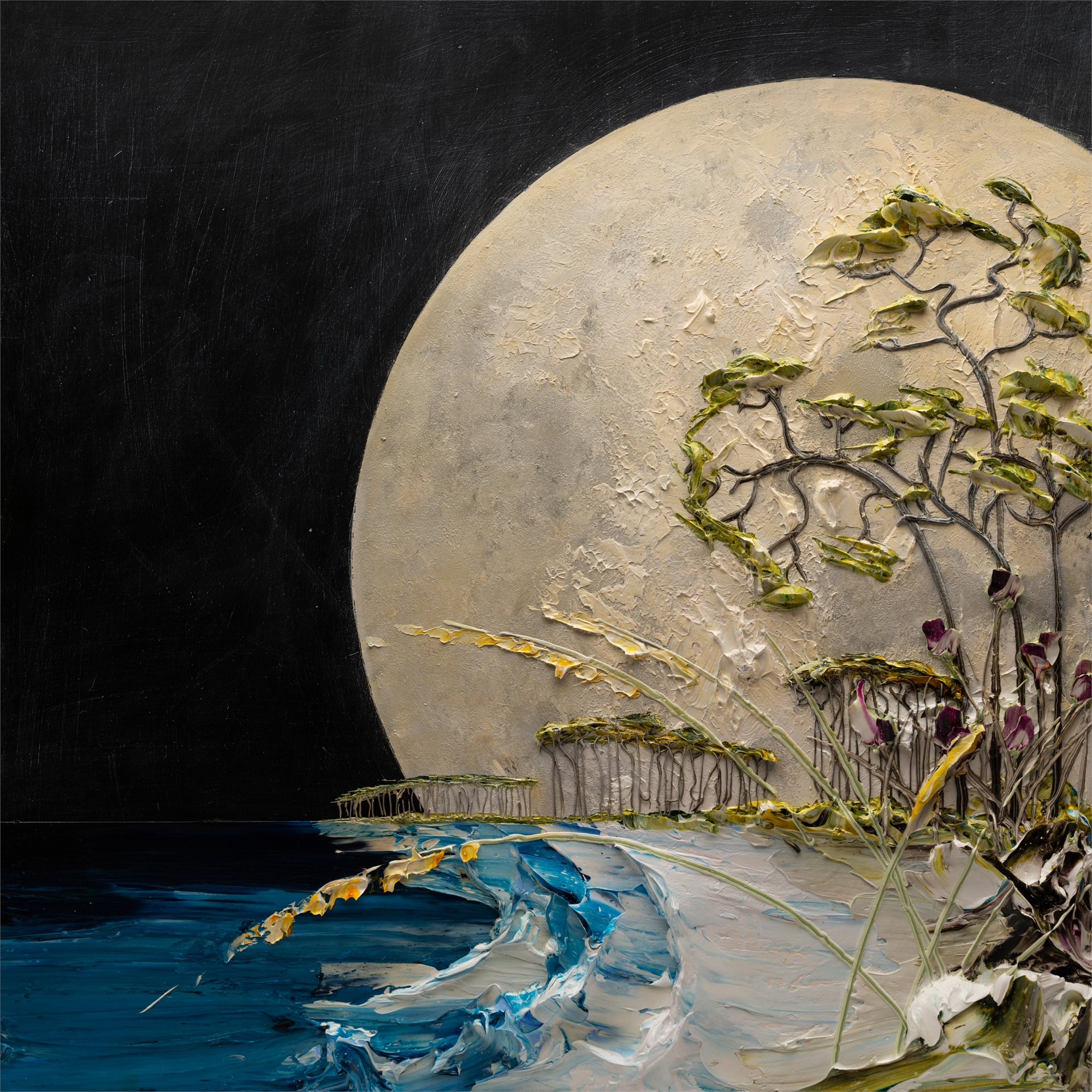 (SOLD) NIGHT MOONSCAPE-MS-48x48-2019-224 by JUSTIN GAFFREY