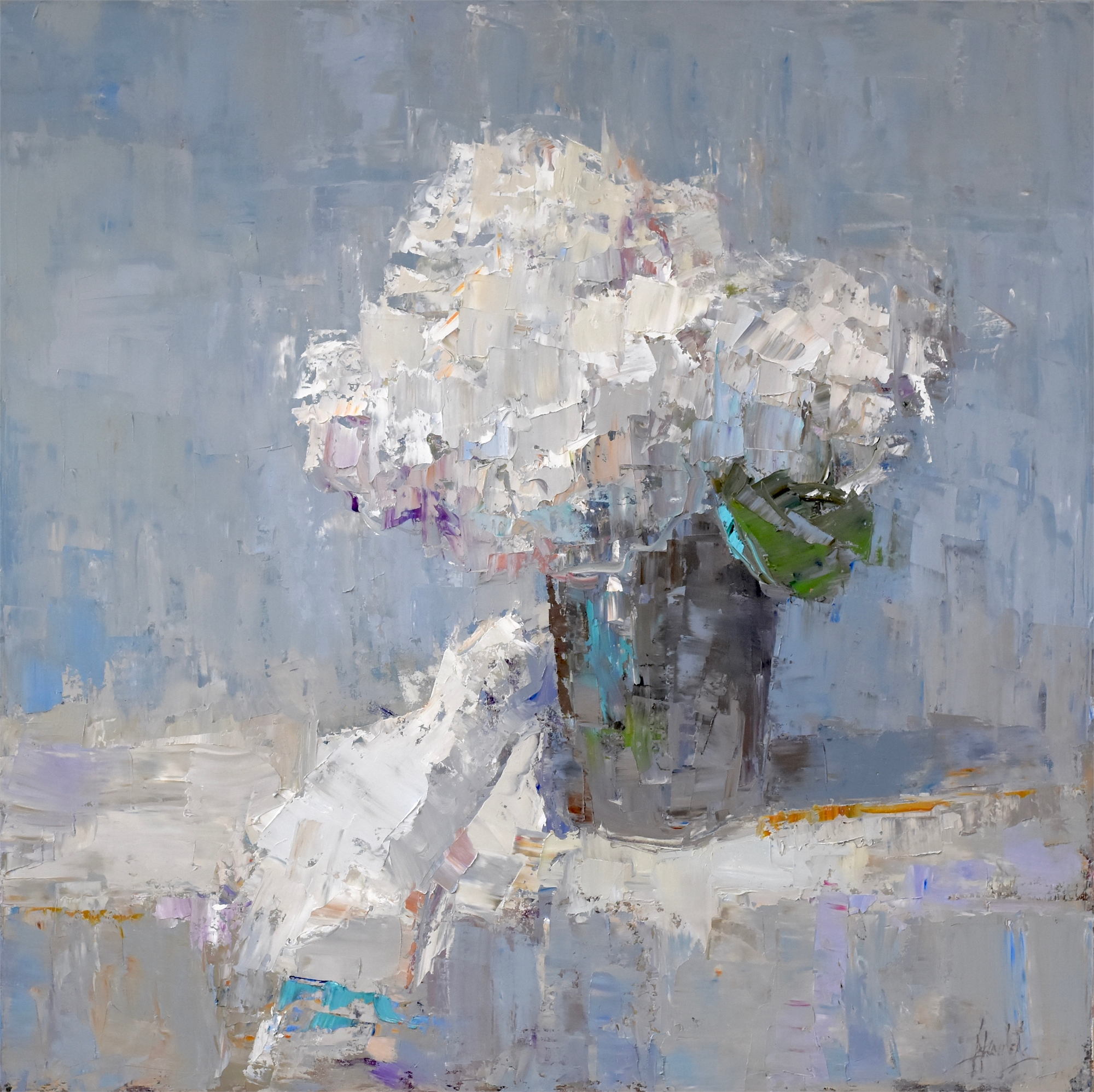 Hydrangeas on Table by Barbara Flowers