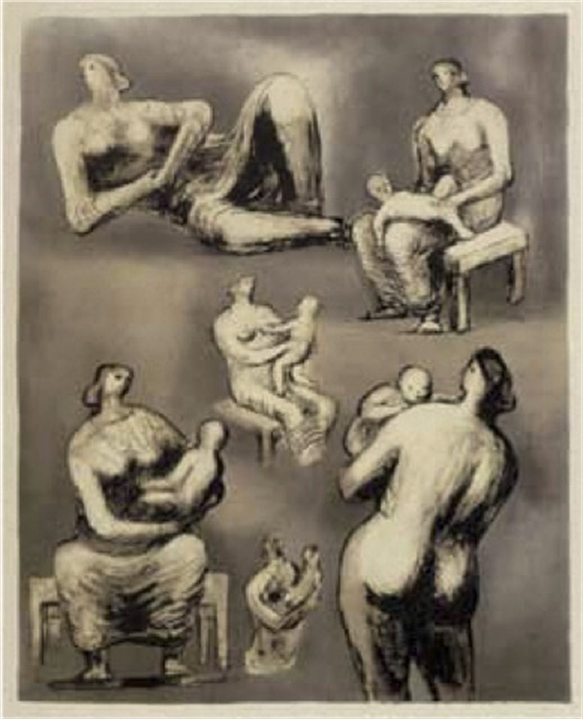 Reclining Figure and Mother and Child Studies by Henry Moore