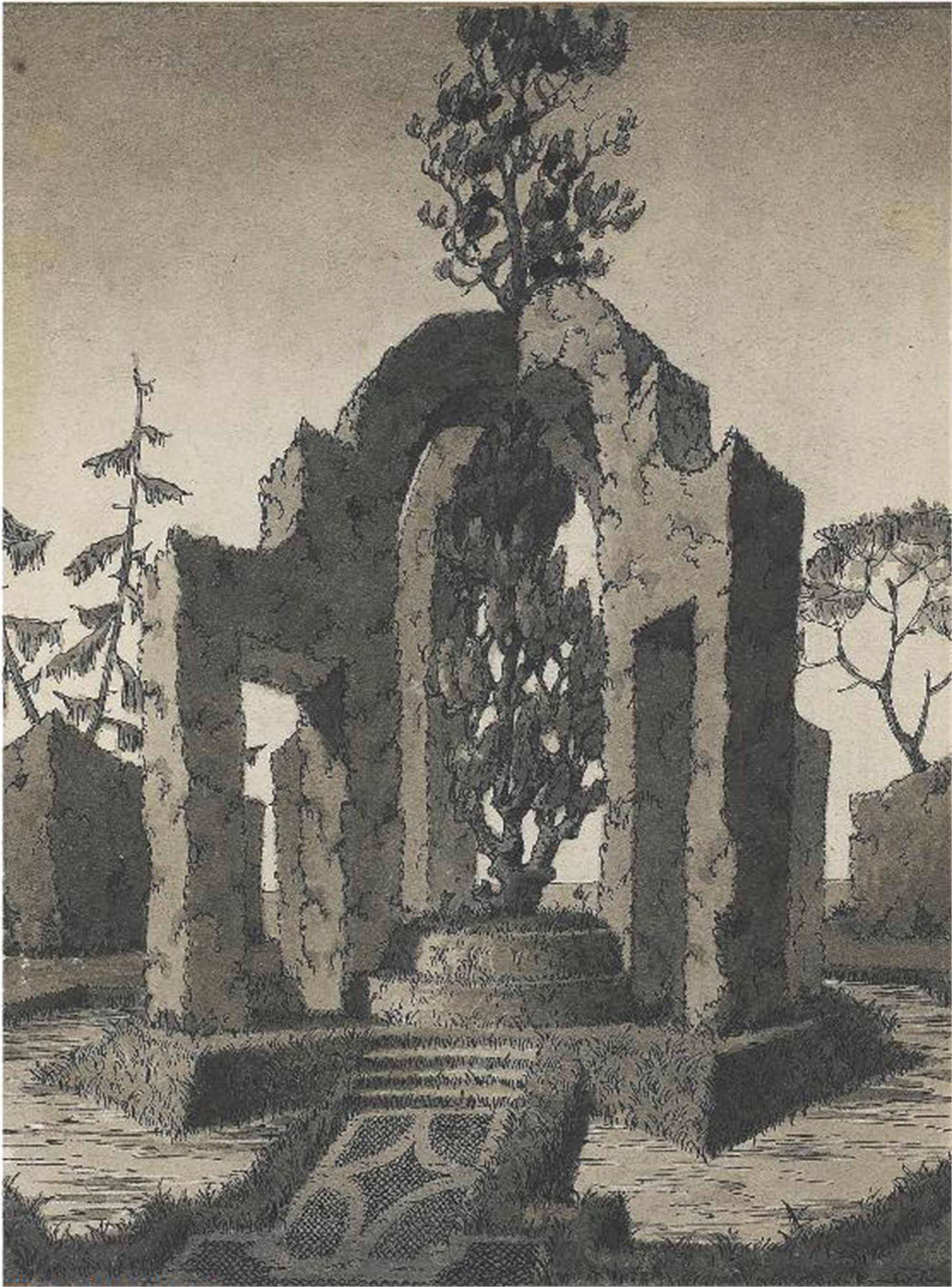DRAWING OF A TOPIARY IN THE SHAPE OF AN ARCHED MONUMENT by Emilio Terry