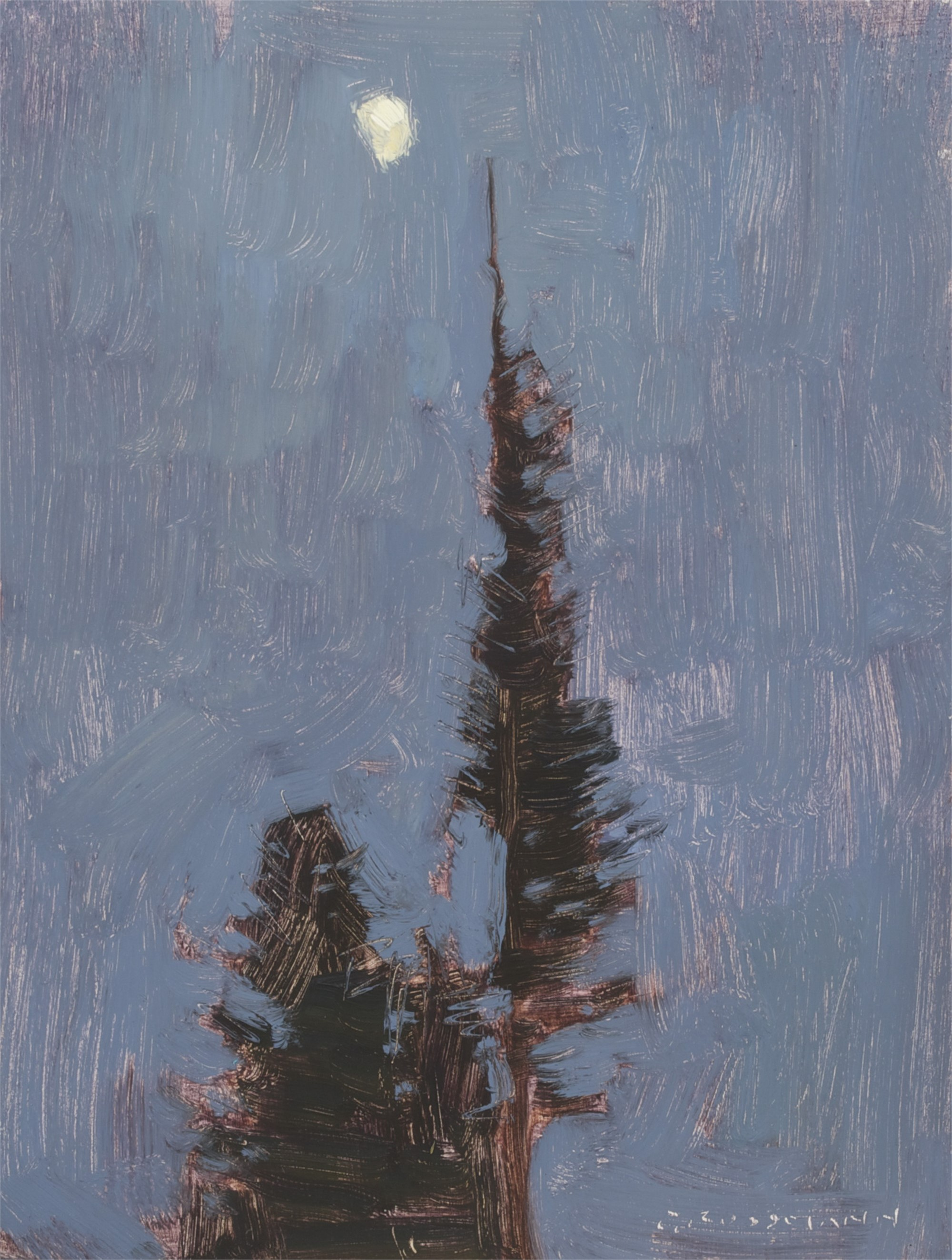 Waxing Moon and Night Pines by David Grossmann
