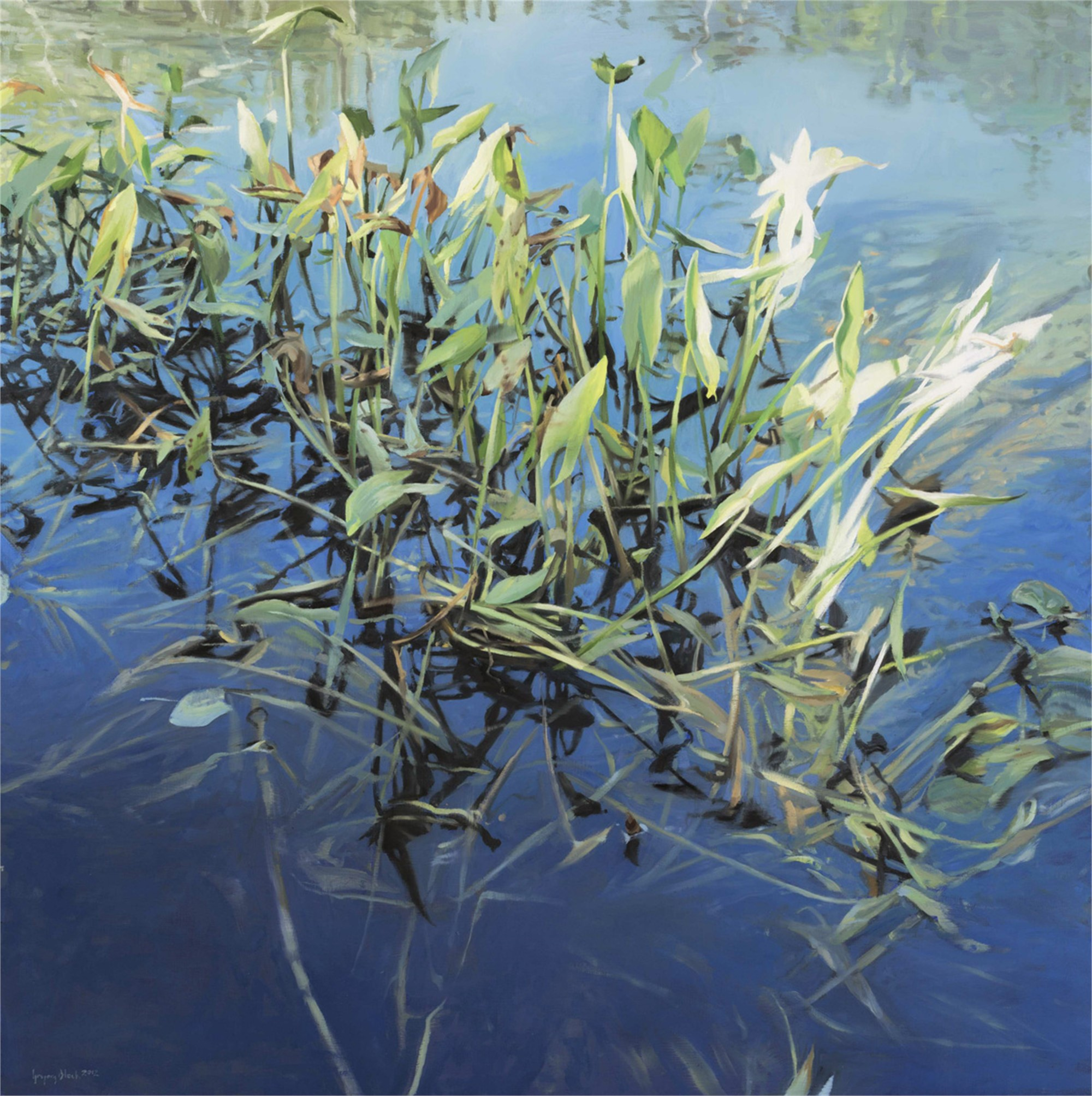 Water Lilies and Reflection by Gregory Block