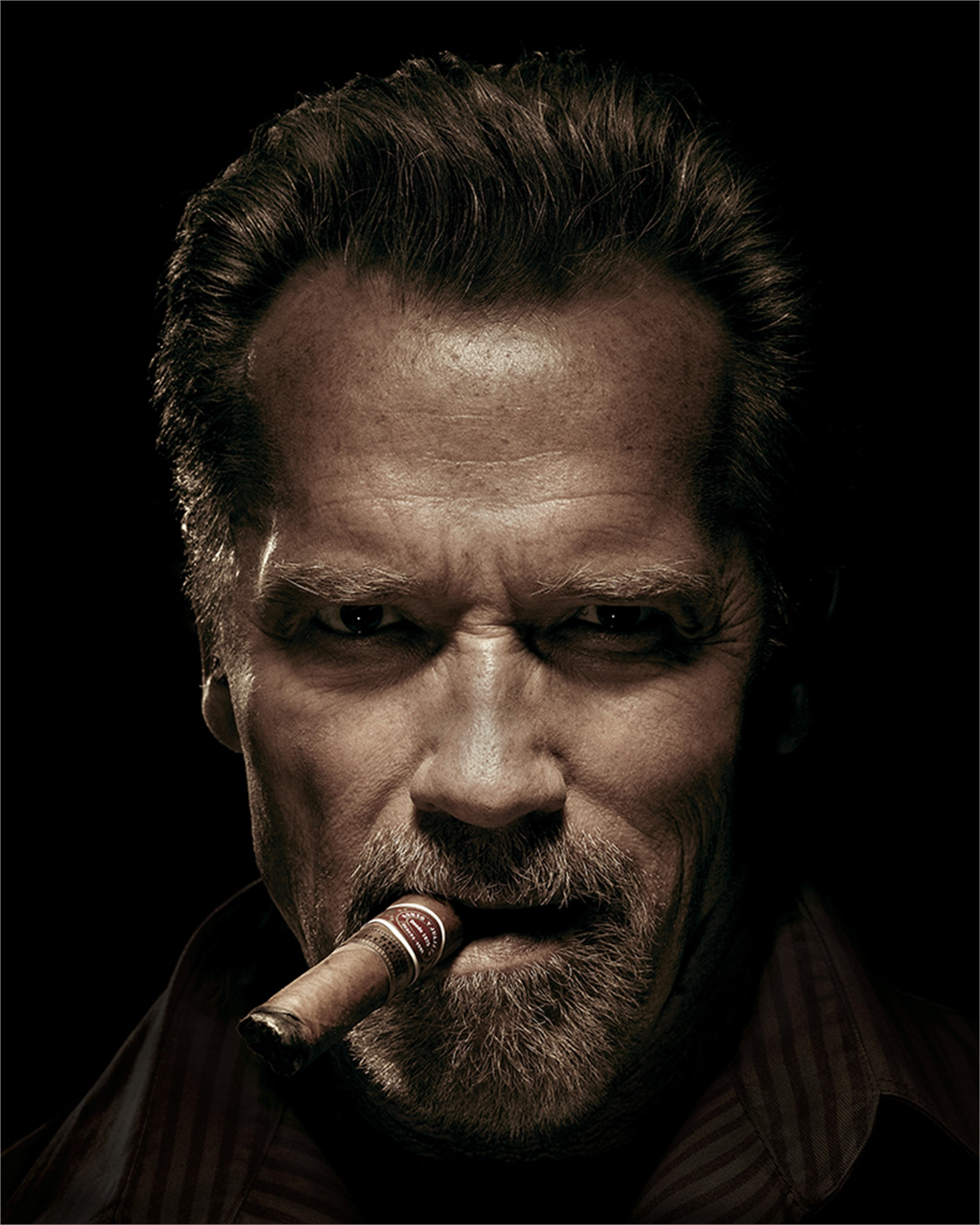 12014 Arnold Schwarzenegger with Cigar Sepia by Timothy White
