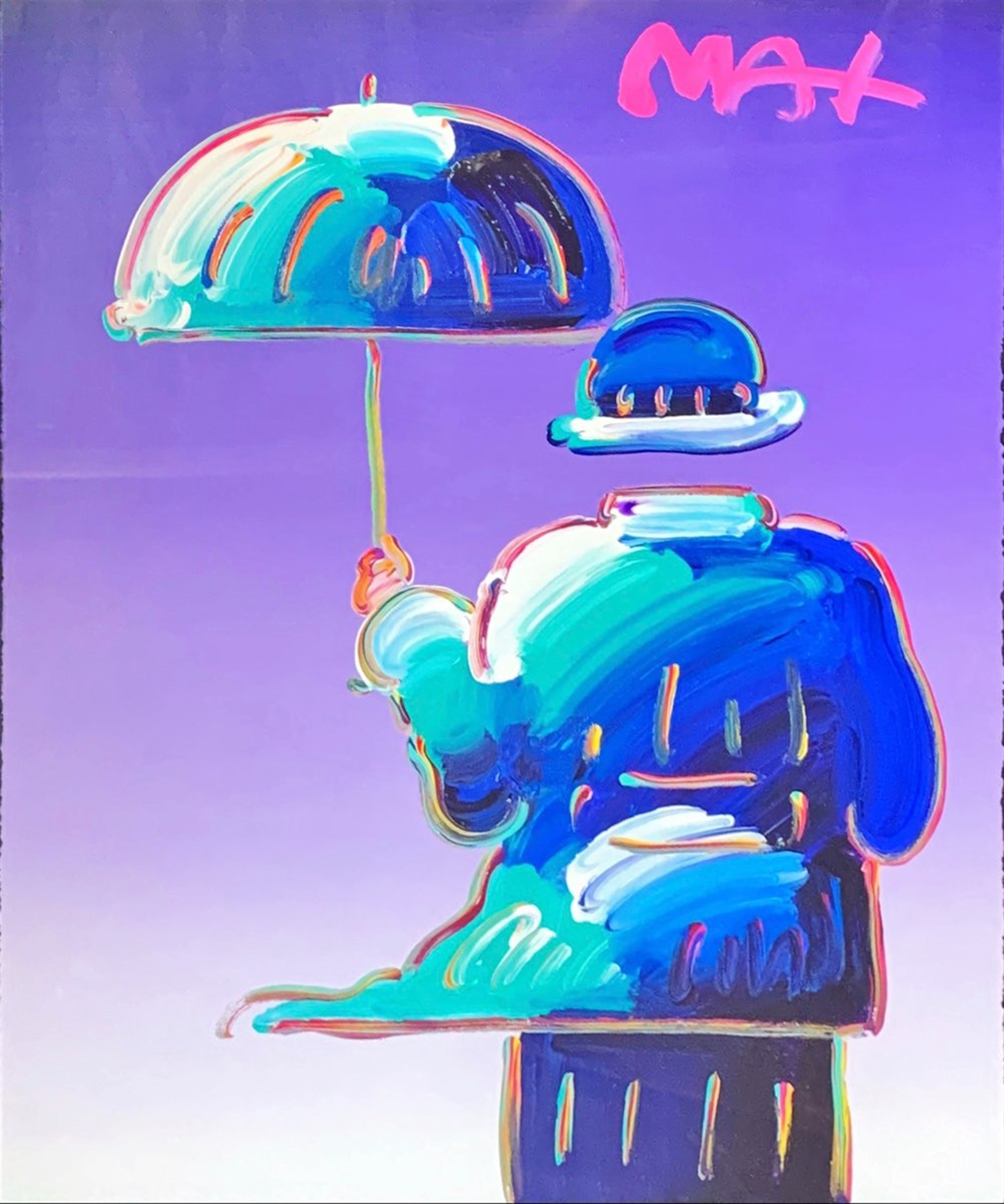 Umbrella Man On Purple by Peter Max