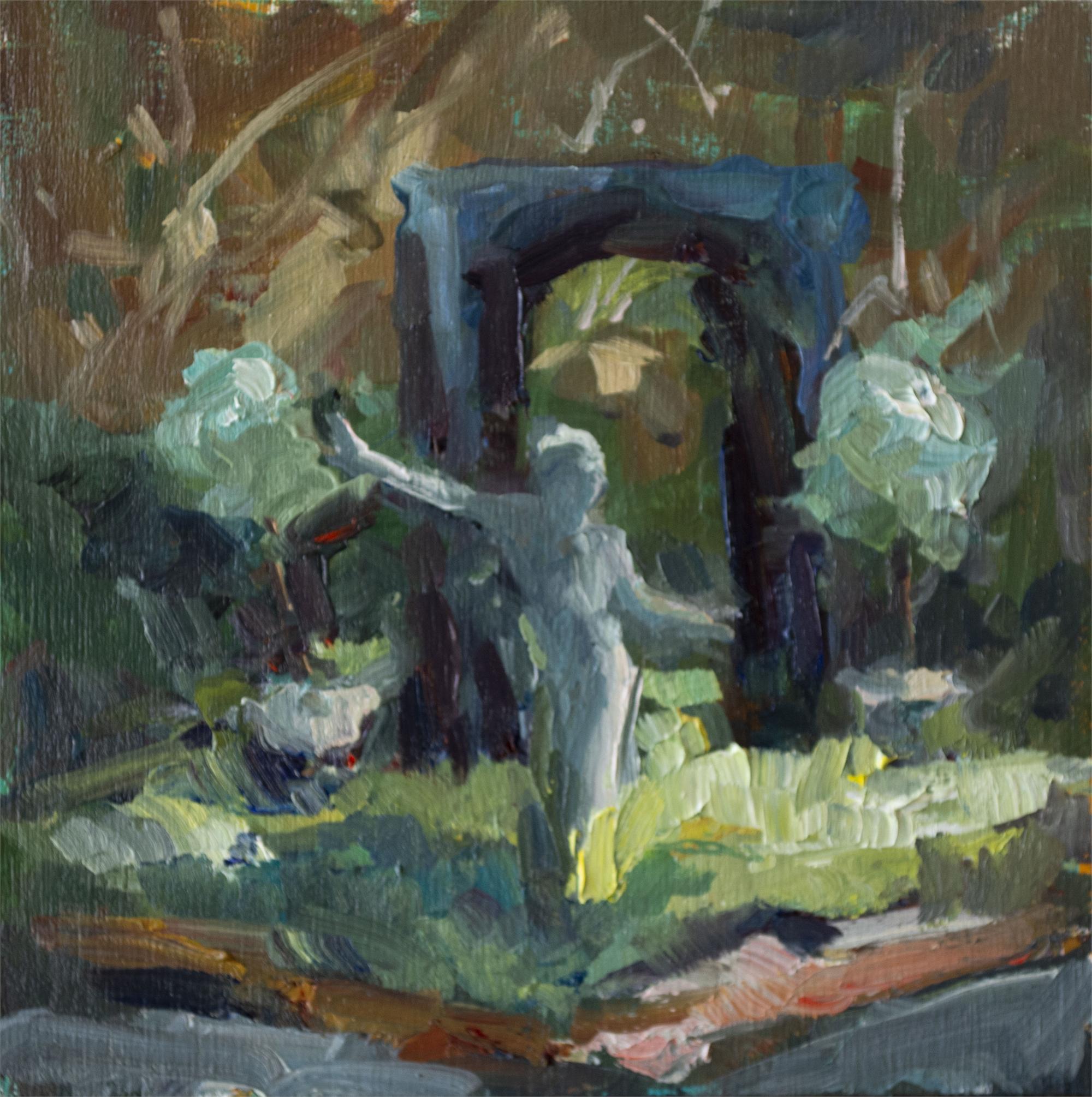 Lighted Statue in Garden by Karen Hewitt Hagan