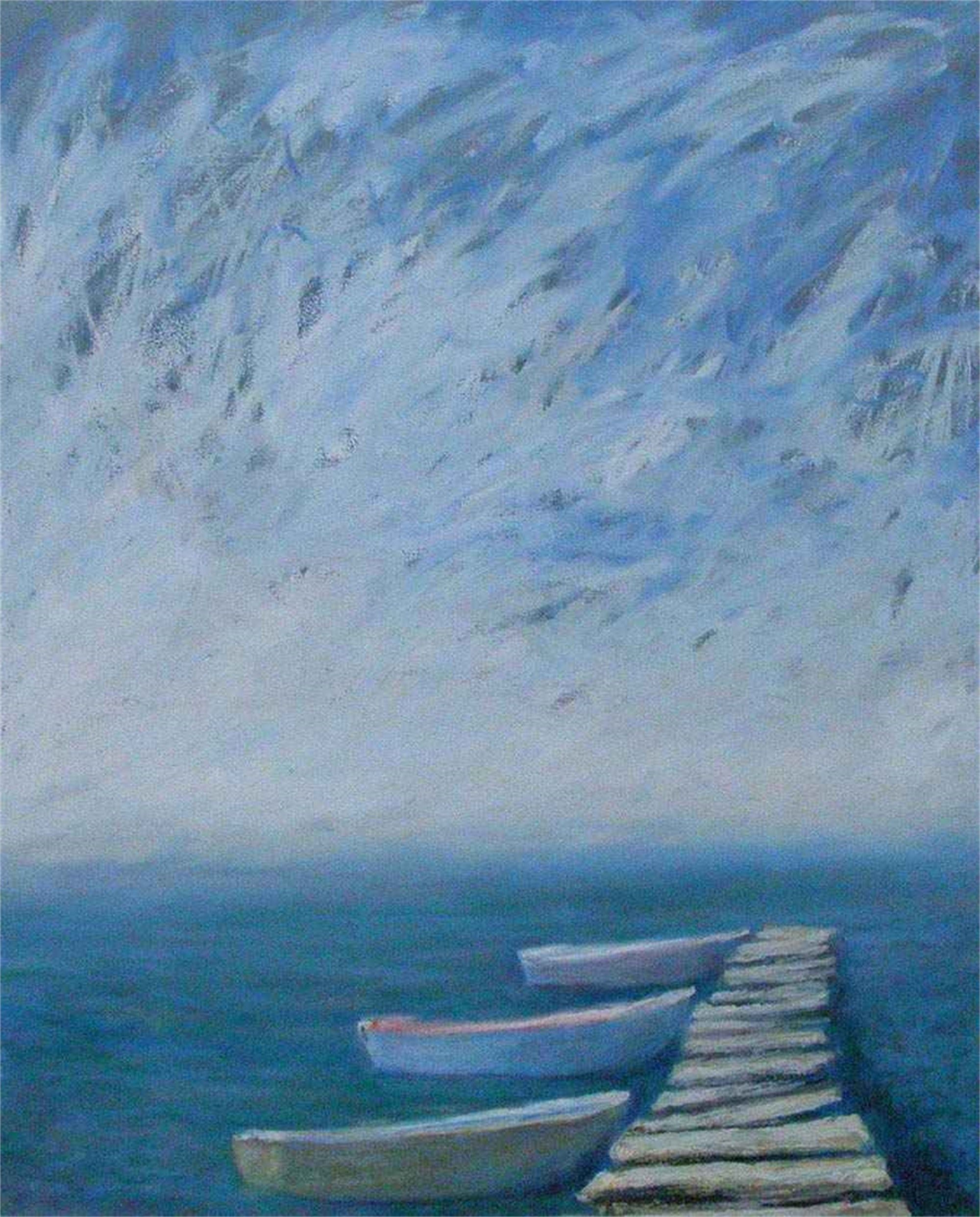 Three Boats at Dock by John Gaitenby