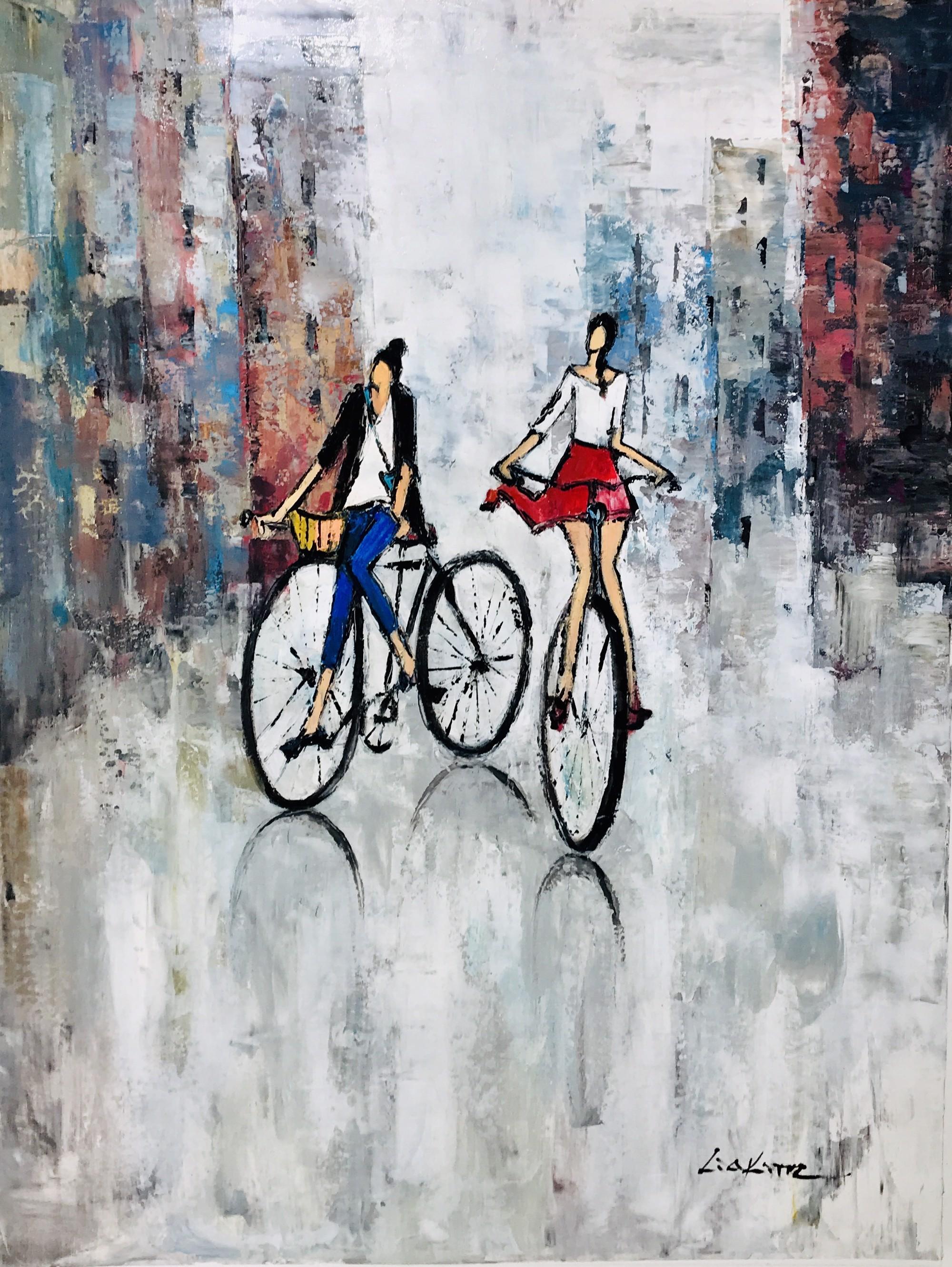 TWO WOMEN CYCLISTS by LIA KIM