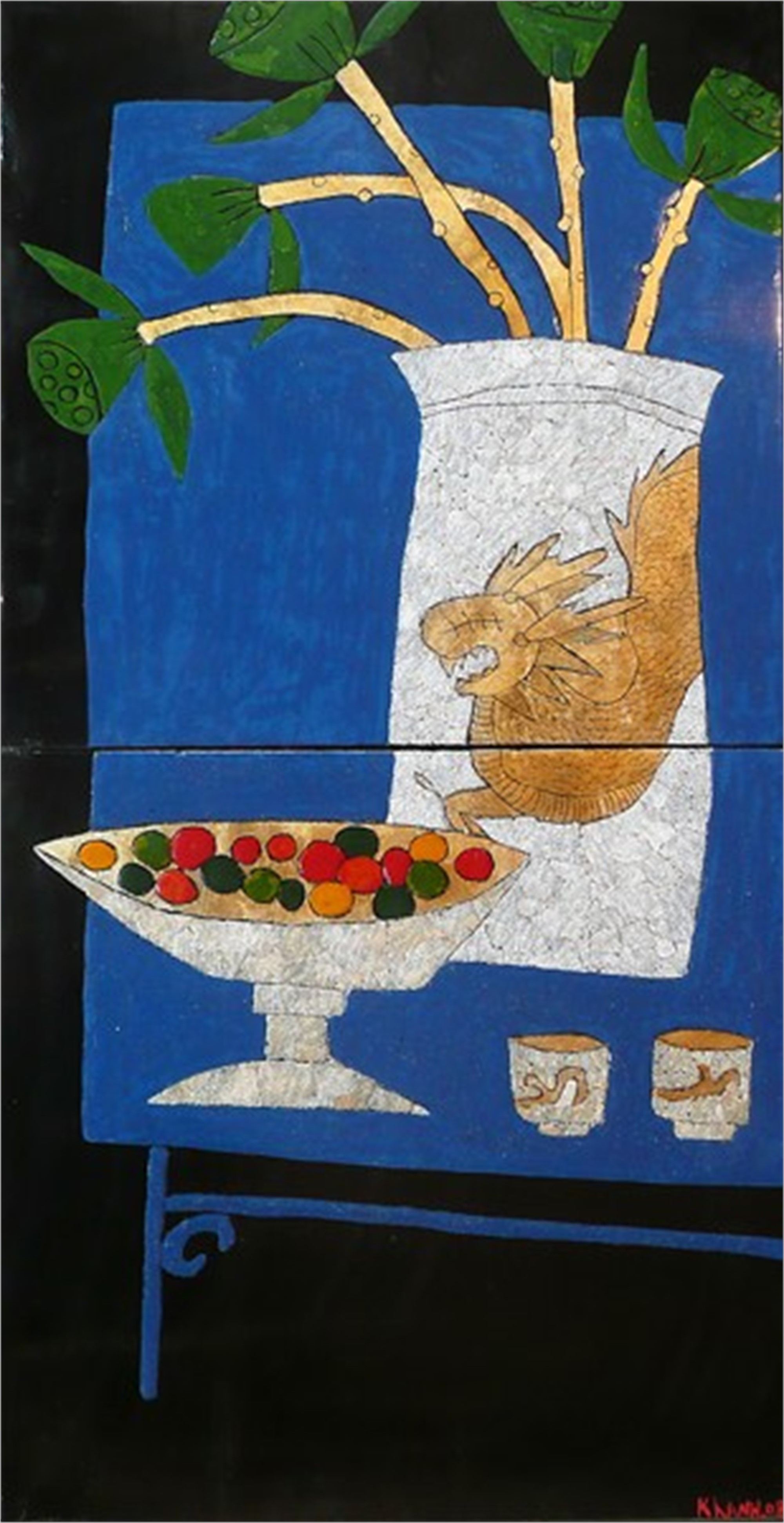 Still Life with Blue Table by Bui Cong Khanh