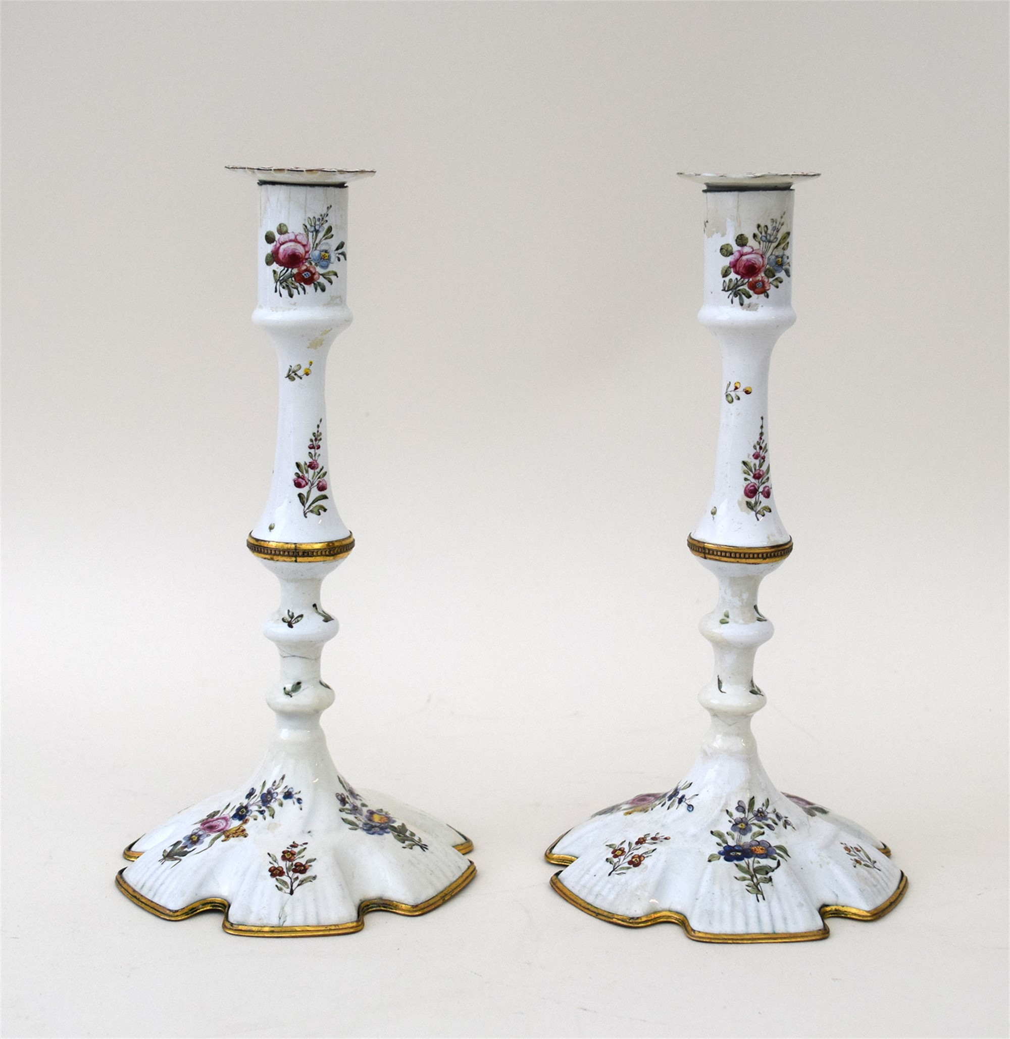 PAIR OF GILT-COPPER-MOUNTED SOUTH STAFFORDSHIRE ENAMEL CANDLESTICKS, PROBABLY BILSTON