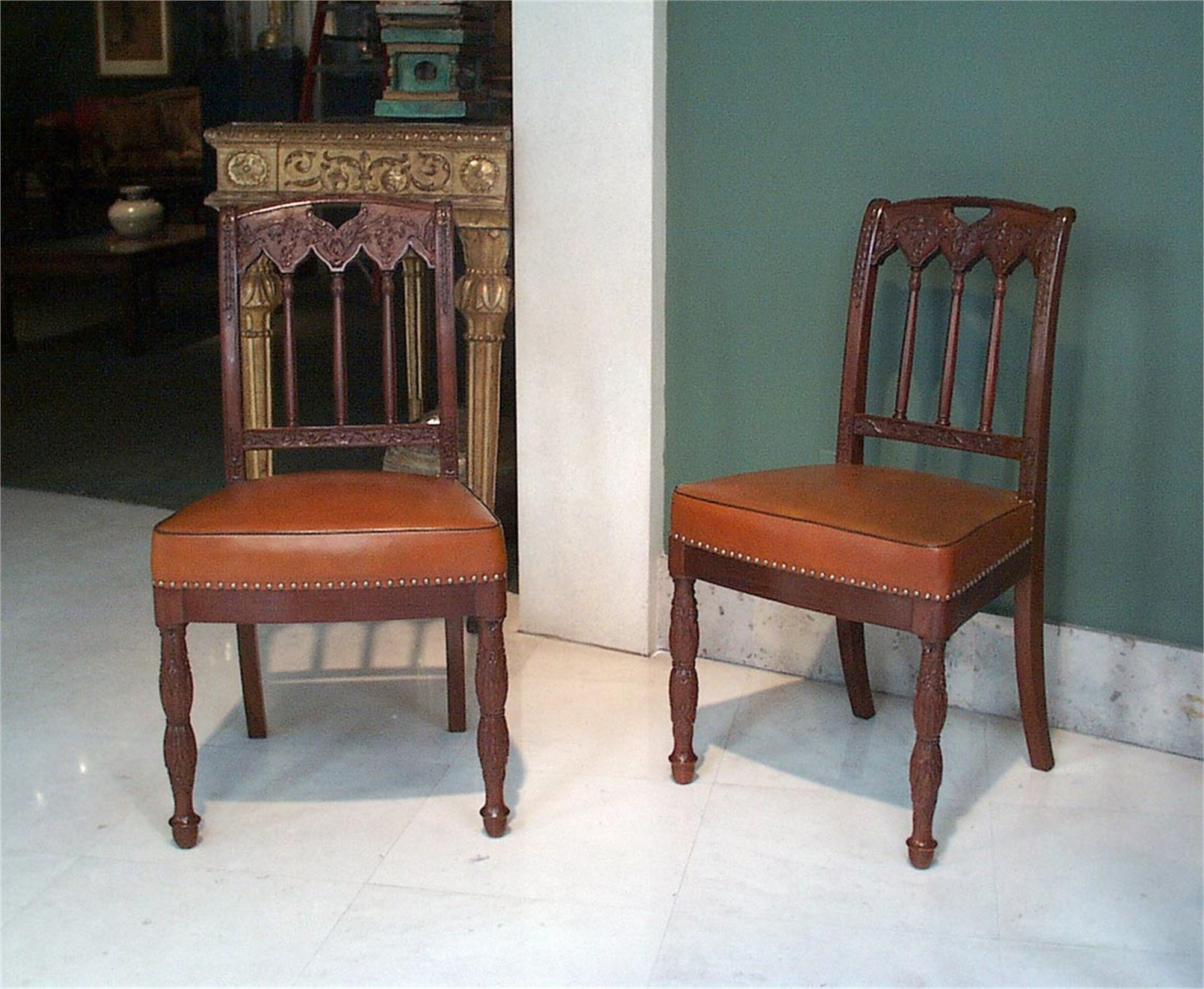 SET OF FIVE MAHOGANY CHAIRS by Louis Bellange