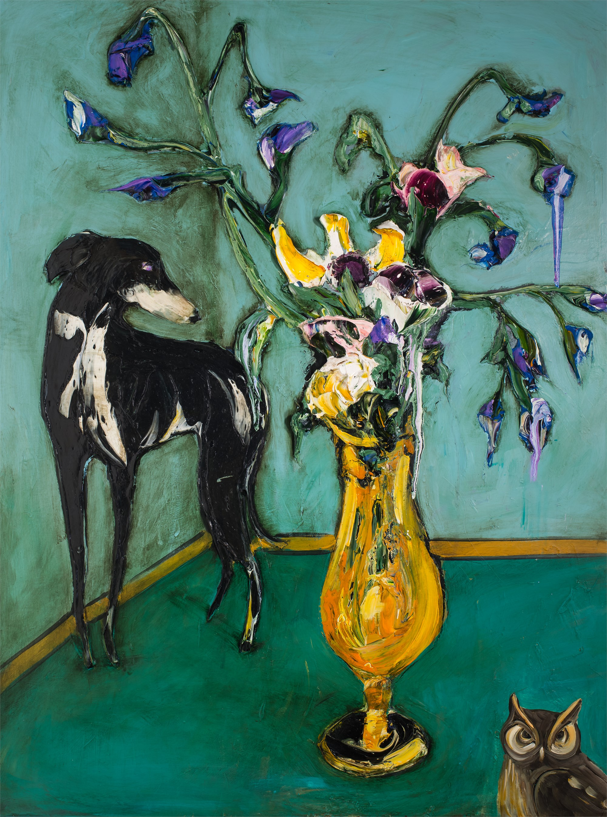 FLORAL STILL LIFE WITH DOG AND OWL FSL36X48-2019-111 by JUSTIN GAFFREY