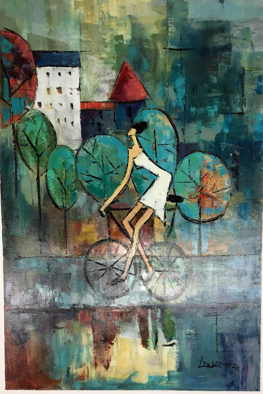WHITE DRESS ON BICYCLE by LIA KIM
