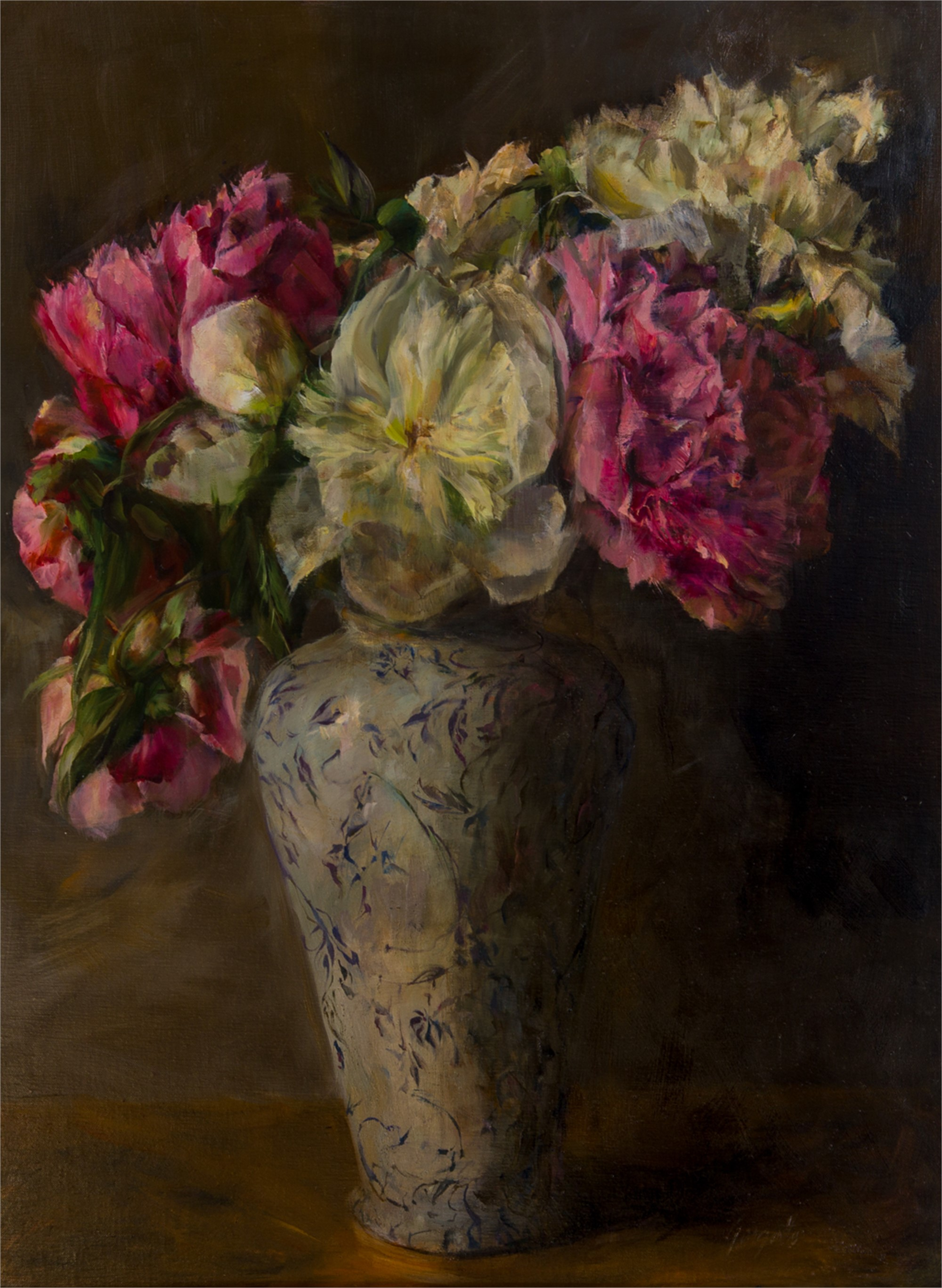 Peonies in Antique Vase by Ann Gargotto