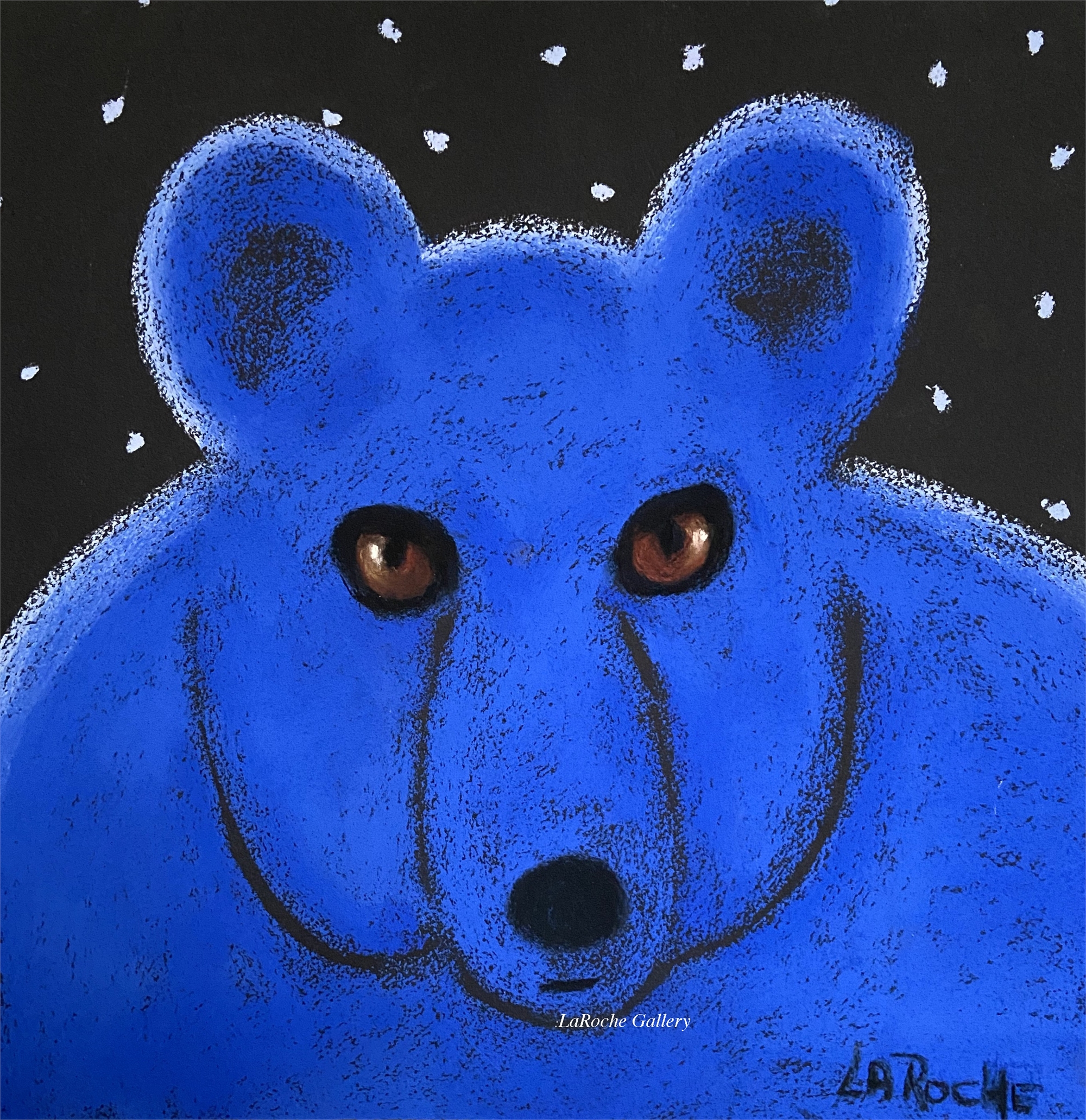BLUE BEAR WITH STARS by Carole LaRoche